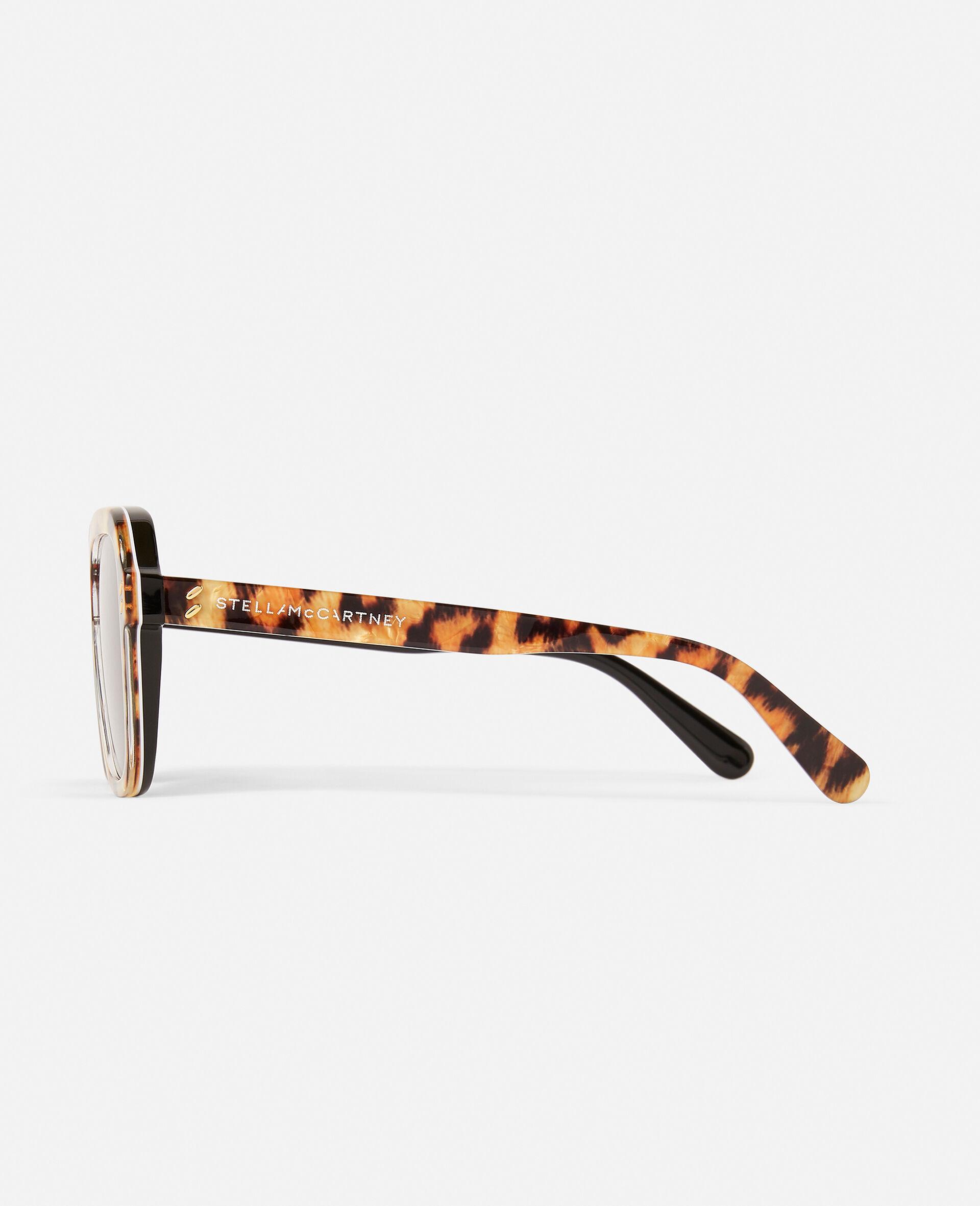 Sonnenbrille mit Leopard-Muster und eckiger Fassung-Brown-large image number 3
