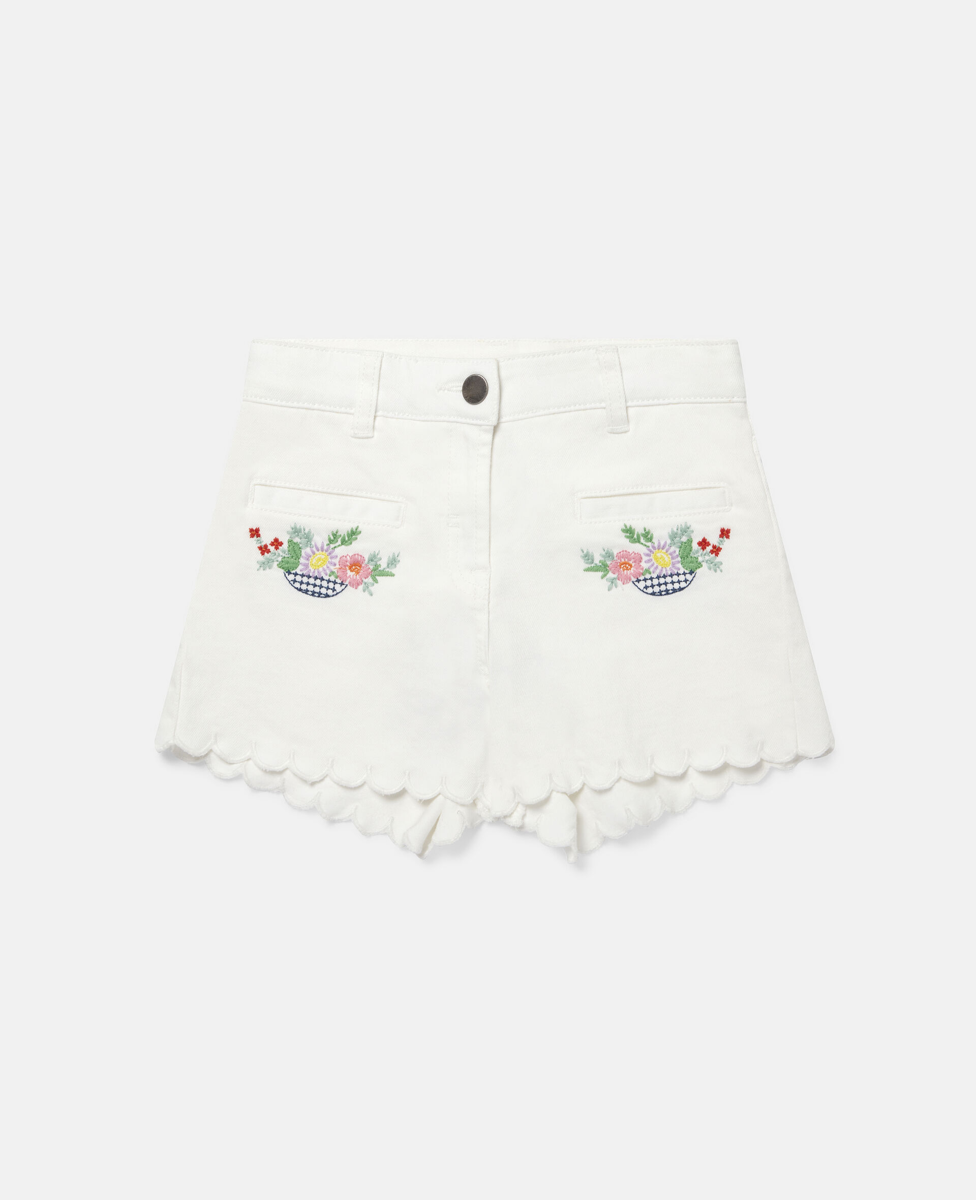 Embroidered Flowers Denim Shorts-White-large image number 0