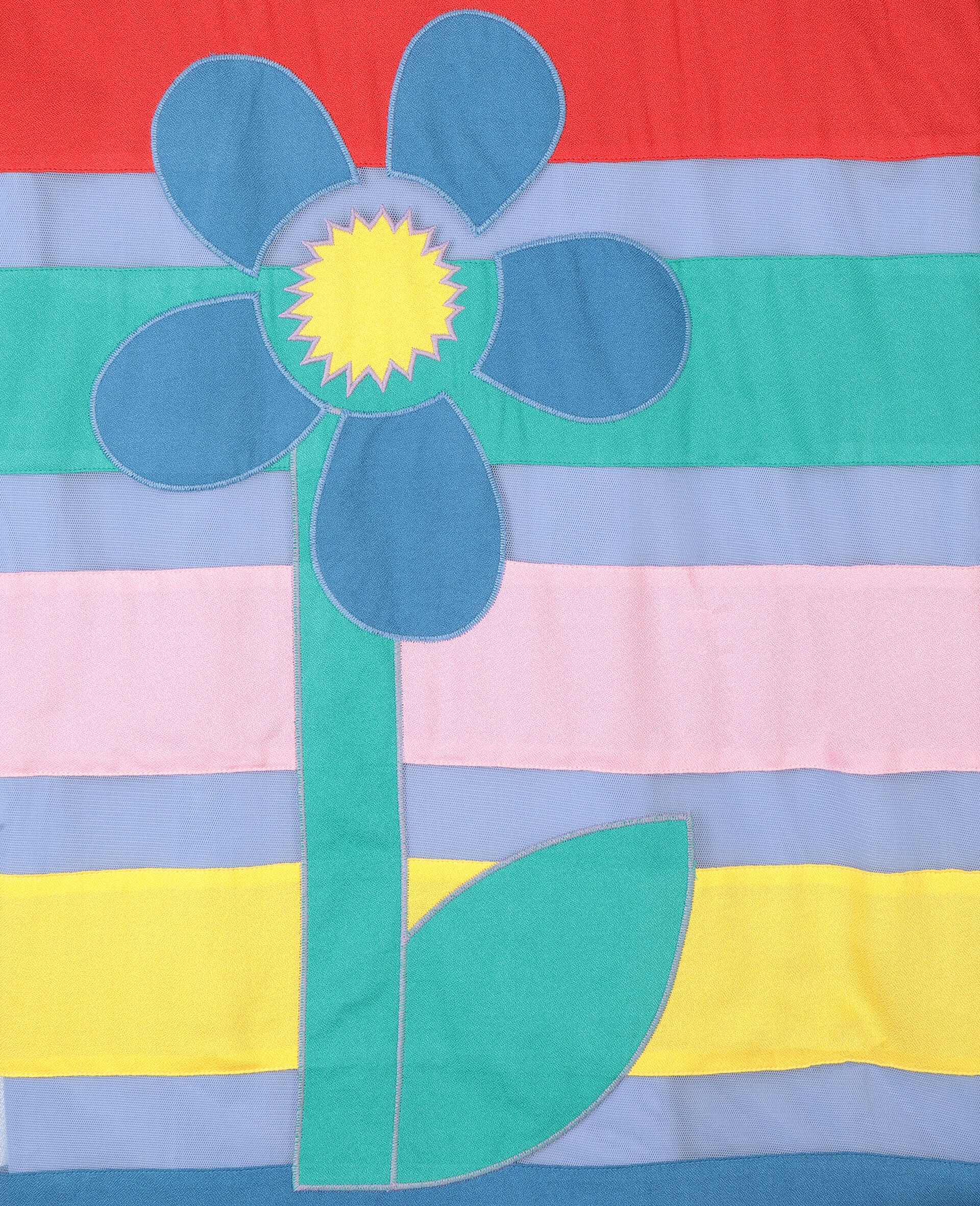 Flower贴饰绢网连衣裙-Multicolored-large image number 1