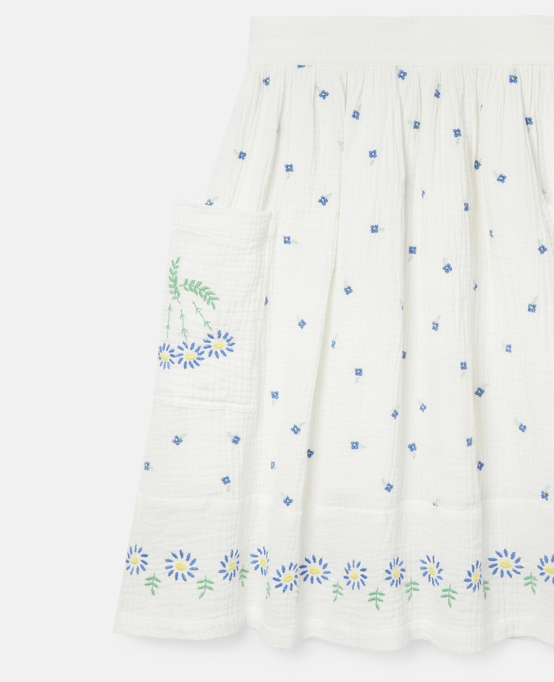 Embroidered Flowers Cotton Skirt-White-large image number 2