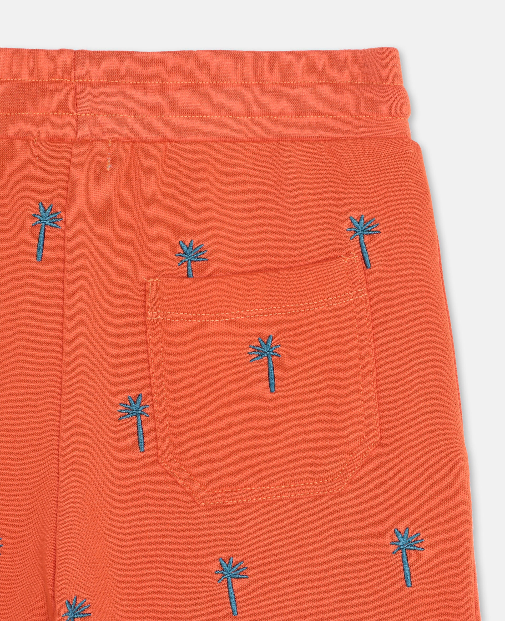 Embroidered Palm Cotton Shorts-Red-large image number 2