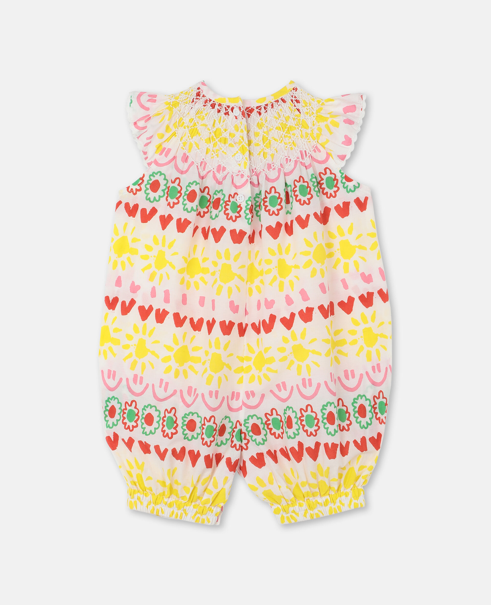 Happy Spripes Cotton Jumpsuit -Yellow-large image number 3