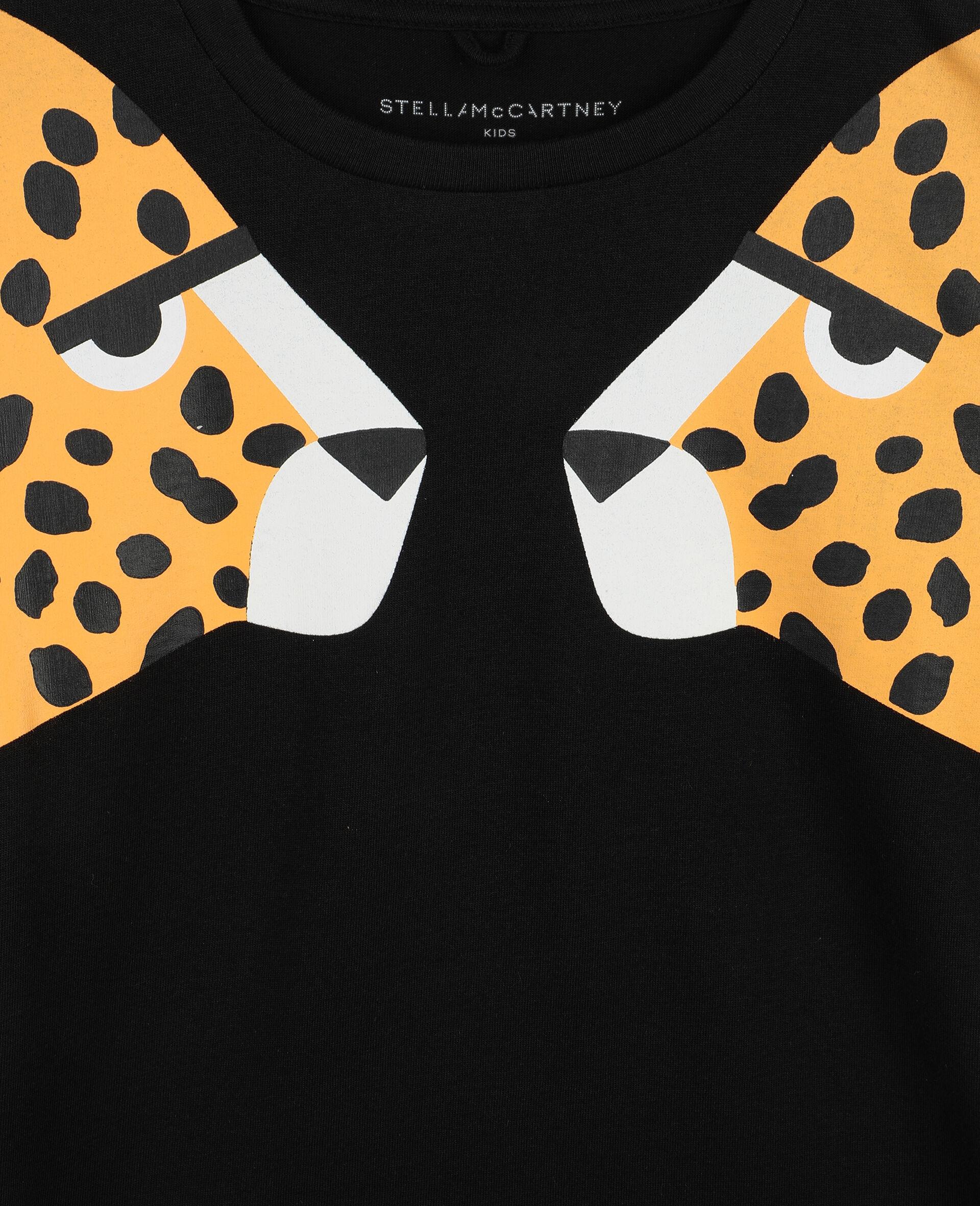 Cheetah Cotton T-shirt-Black-large image number 1