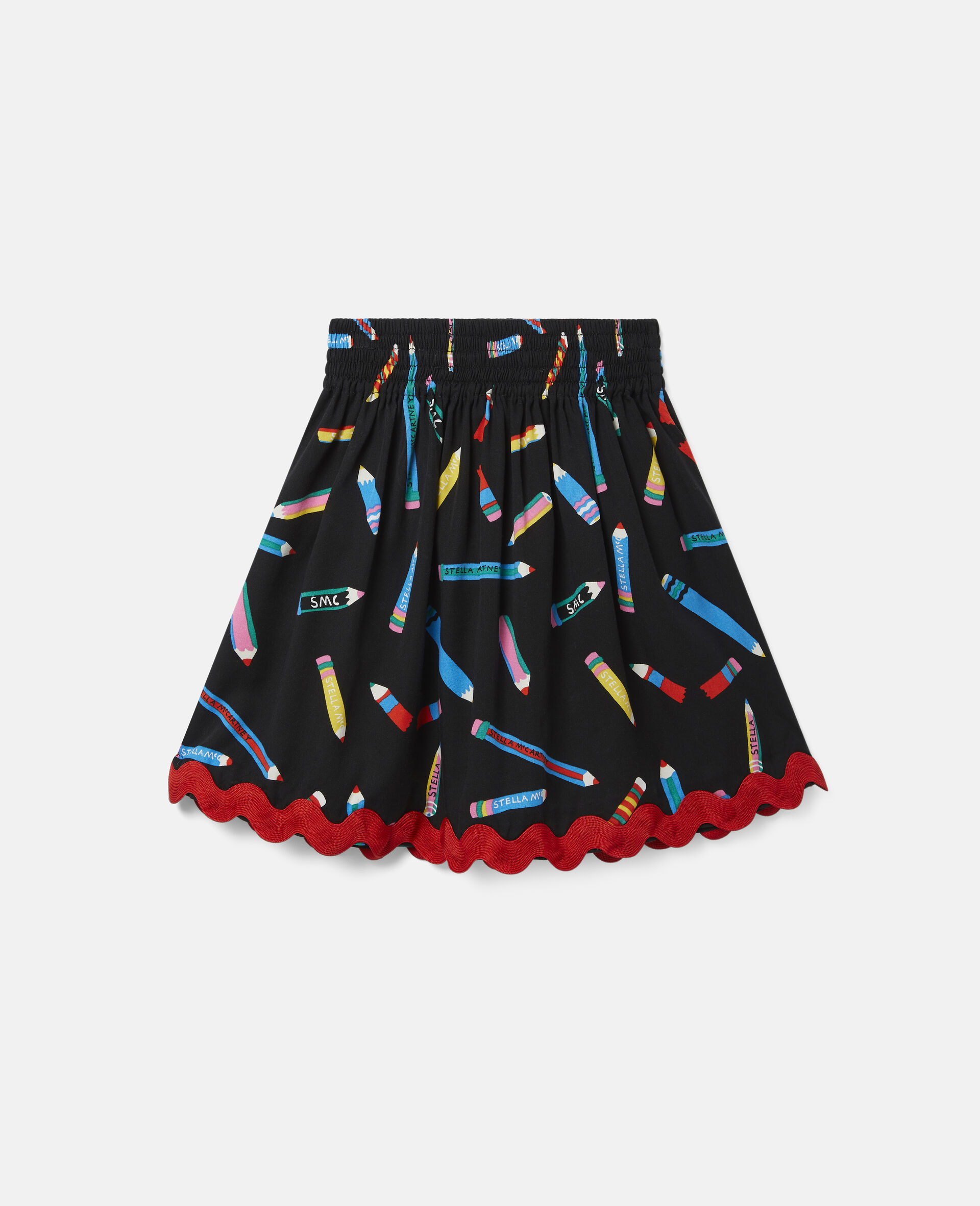 铅笔印花斜纹布半身裙 -黑色-large image number 3