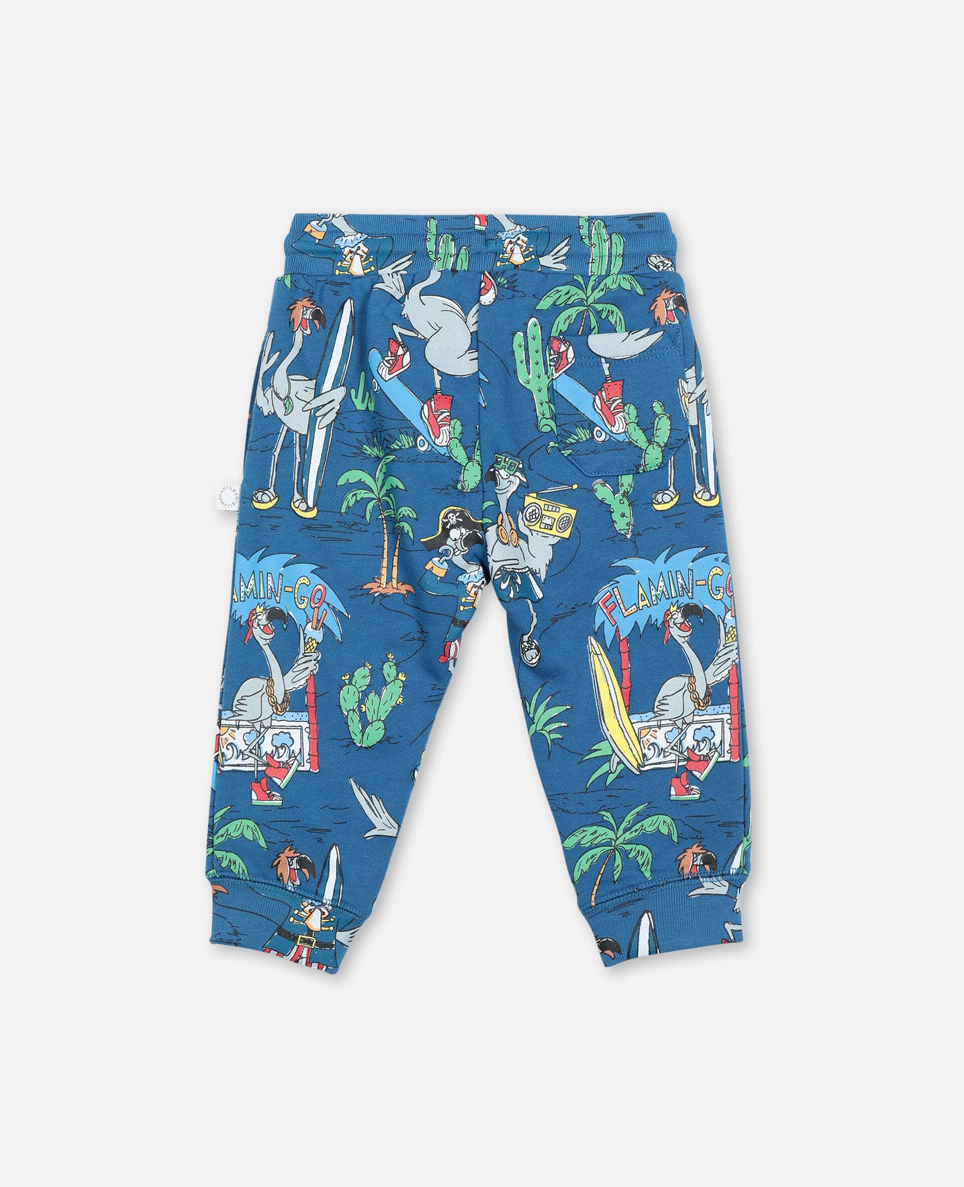 Pantalon de jogging à motif planète flamants roses-Bleu-large image number 4