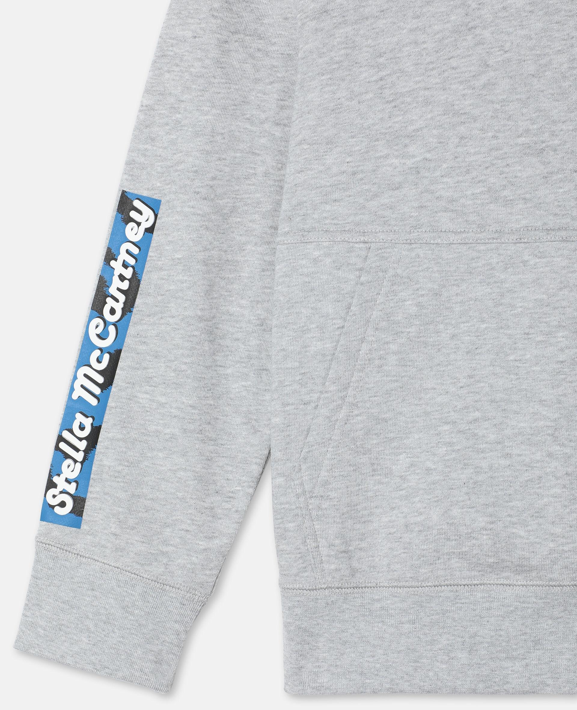 Oversize Logo Badge Cotton Sport Hoodie -Grey-large image number 2