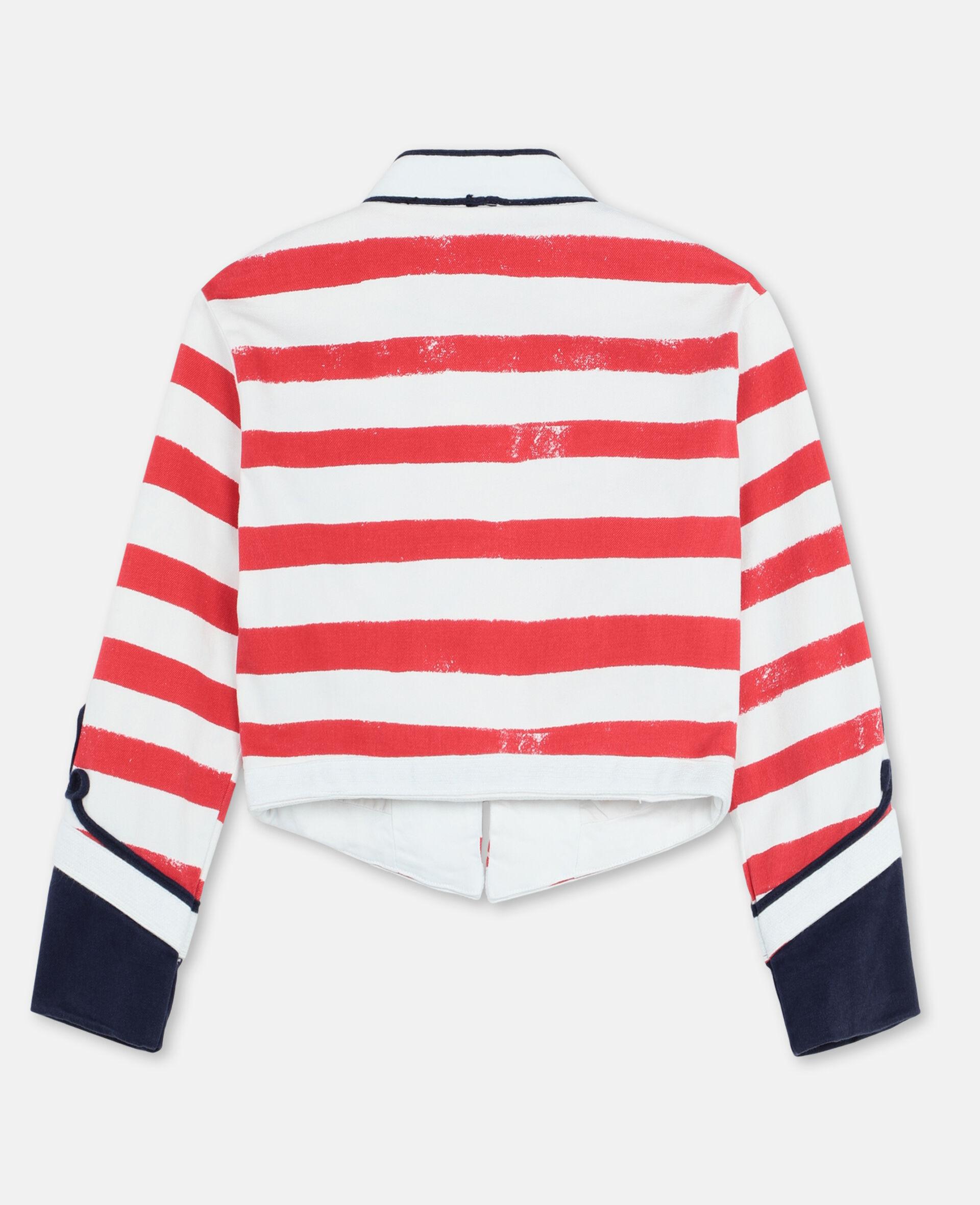 Striped Denim Jacket -Multicolour-large image number 3
