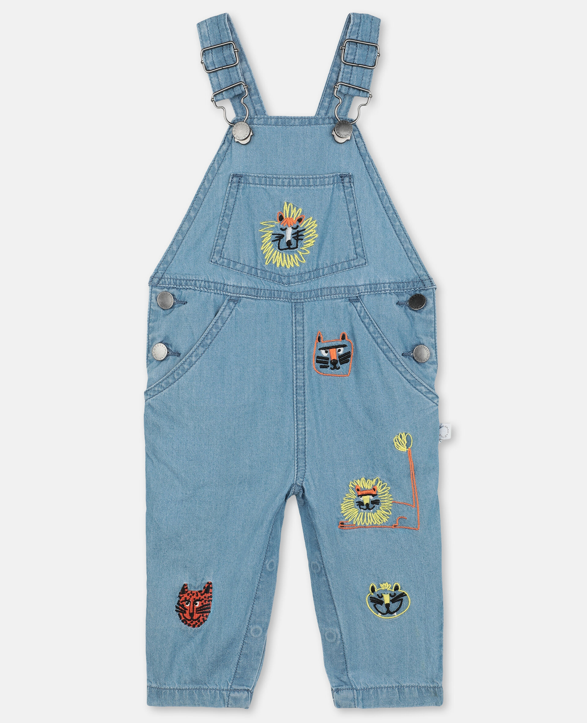 Embroidered Cats Cotton Chambray Dungarees-Blue-large image number 0