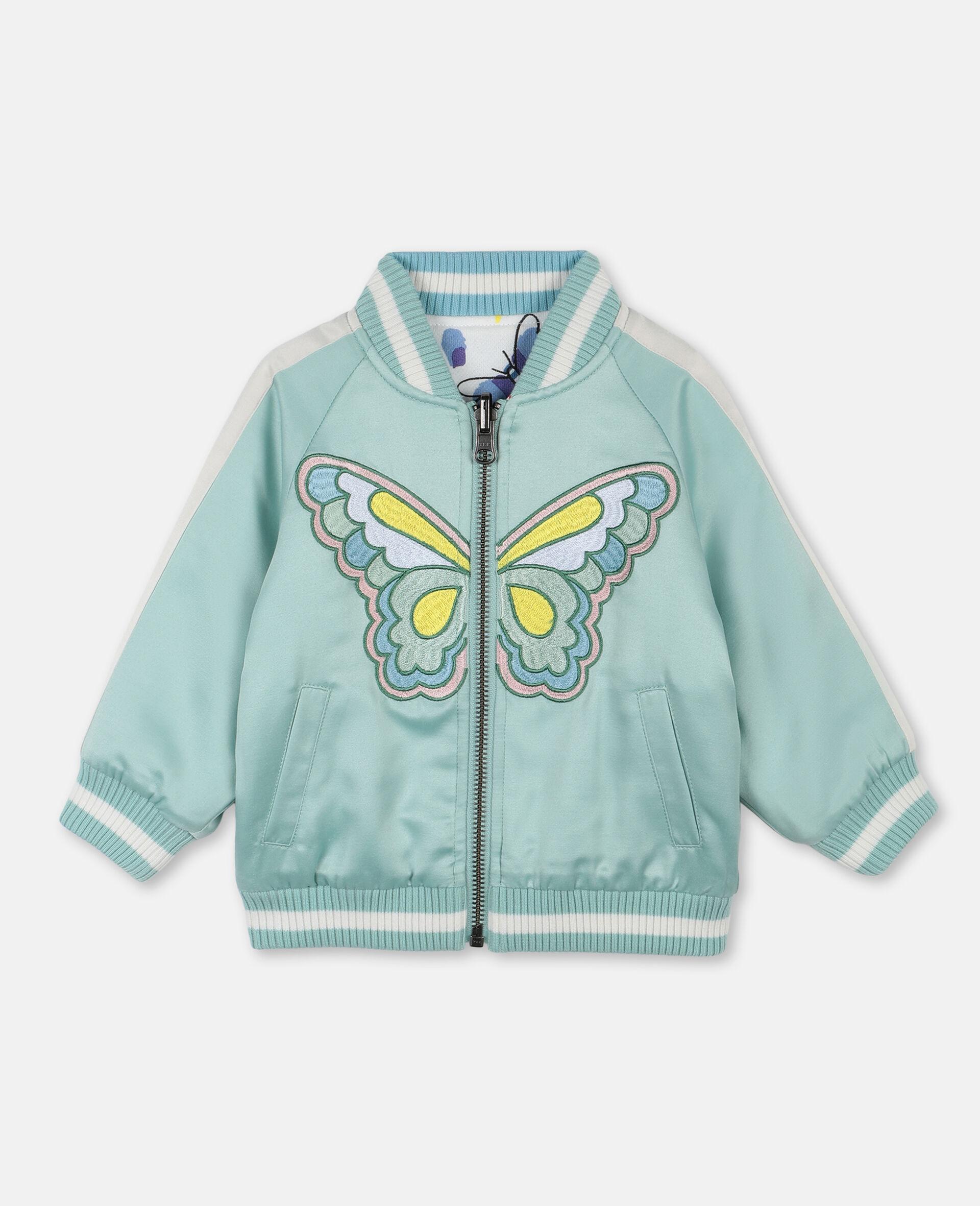 Bomber en satin à motif papillon -Vert-large image number 0