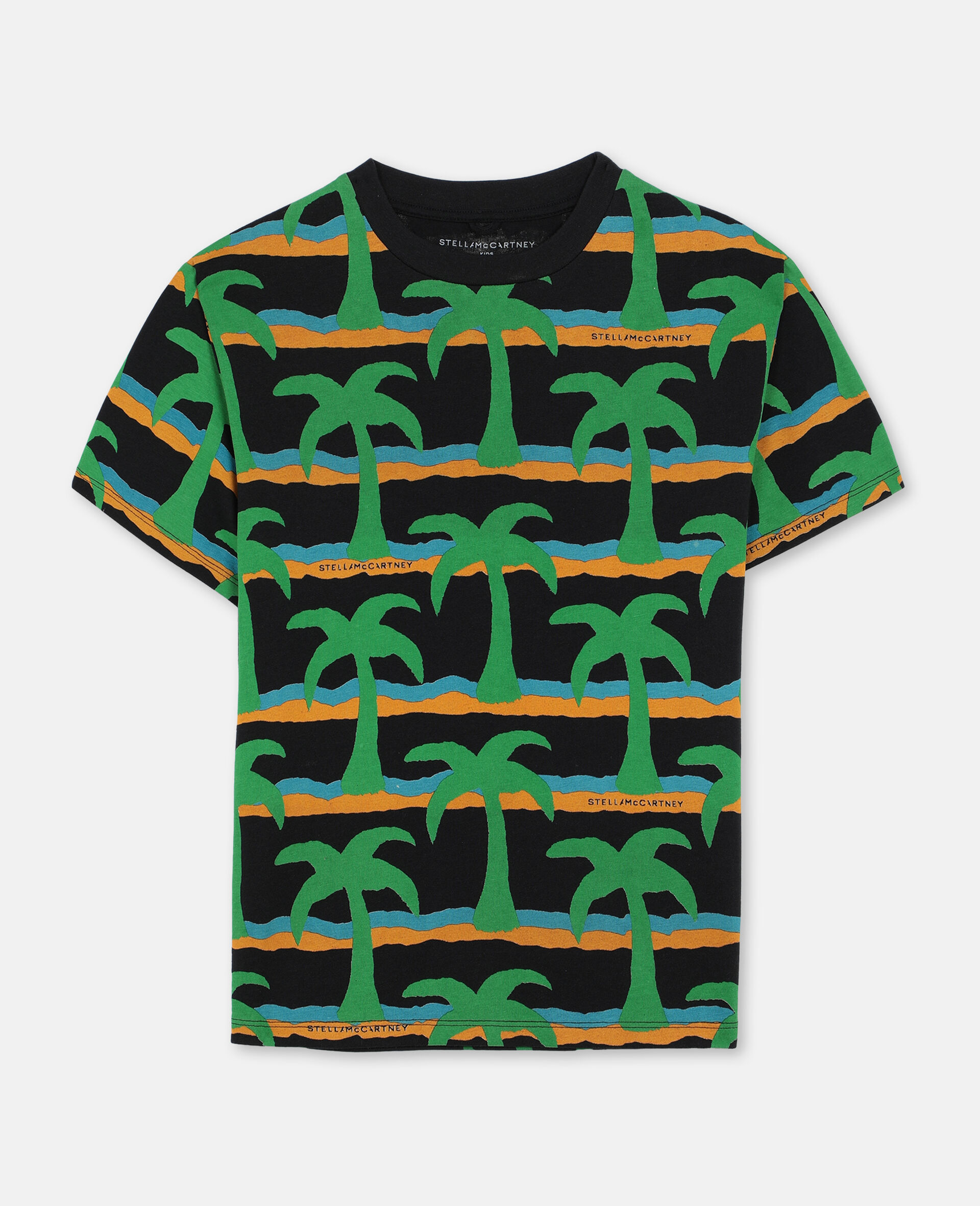 T-Shirt Oversize in Cotone con Palme -Nero-large image number 0