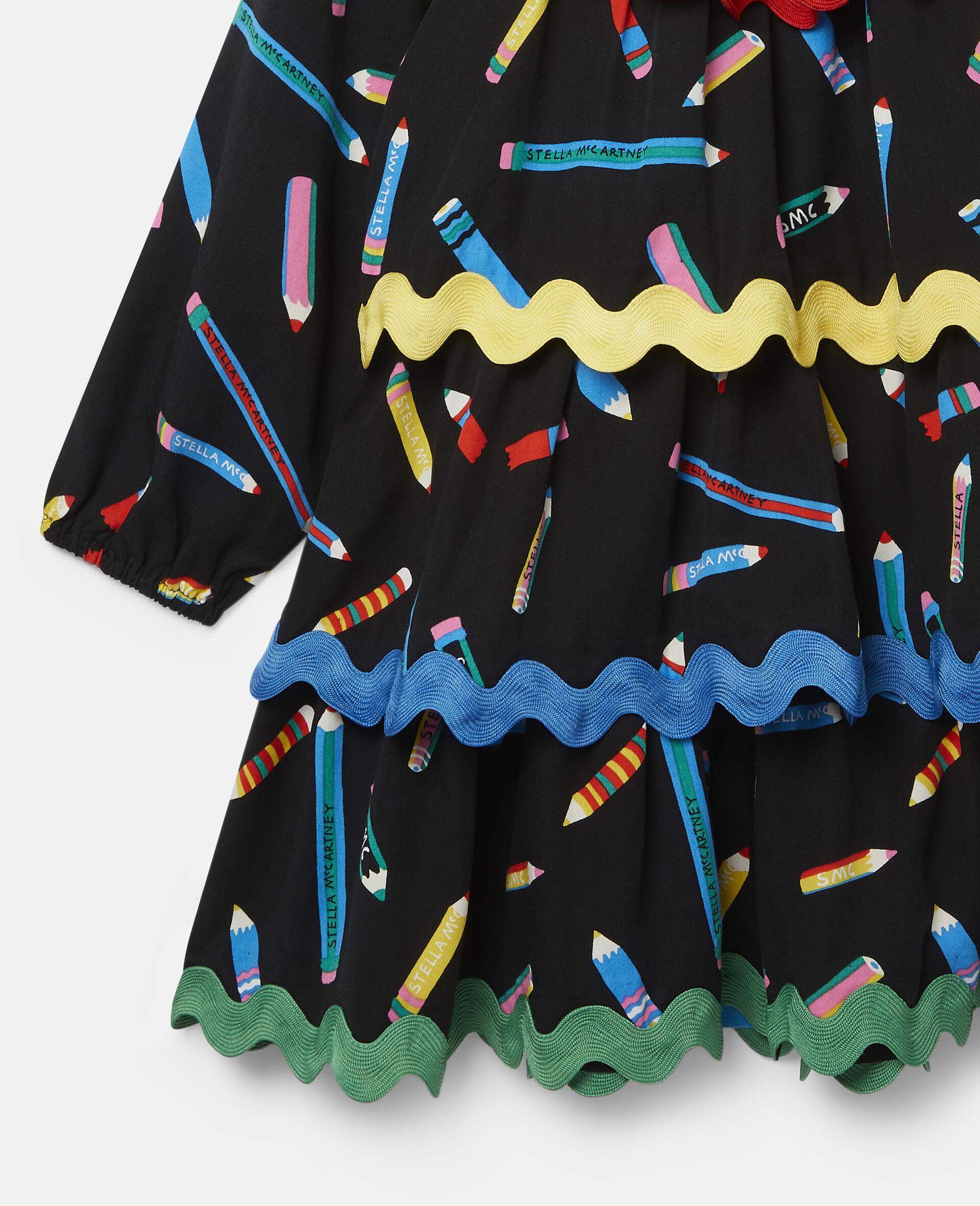 铅笔印花分层斜纹布连衣裙 -黑色-large image number 1