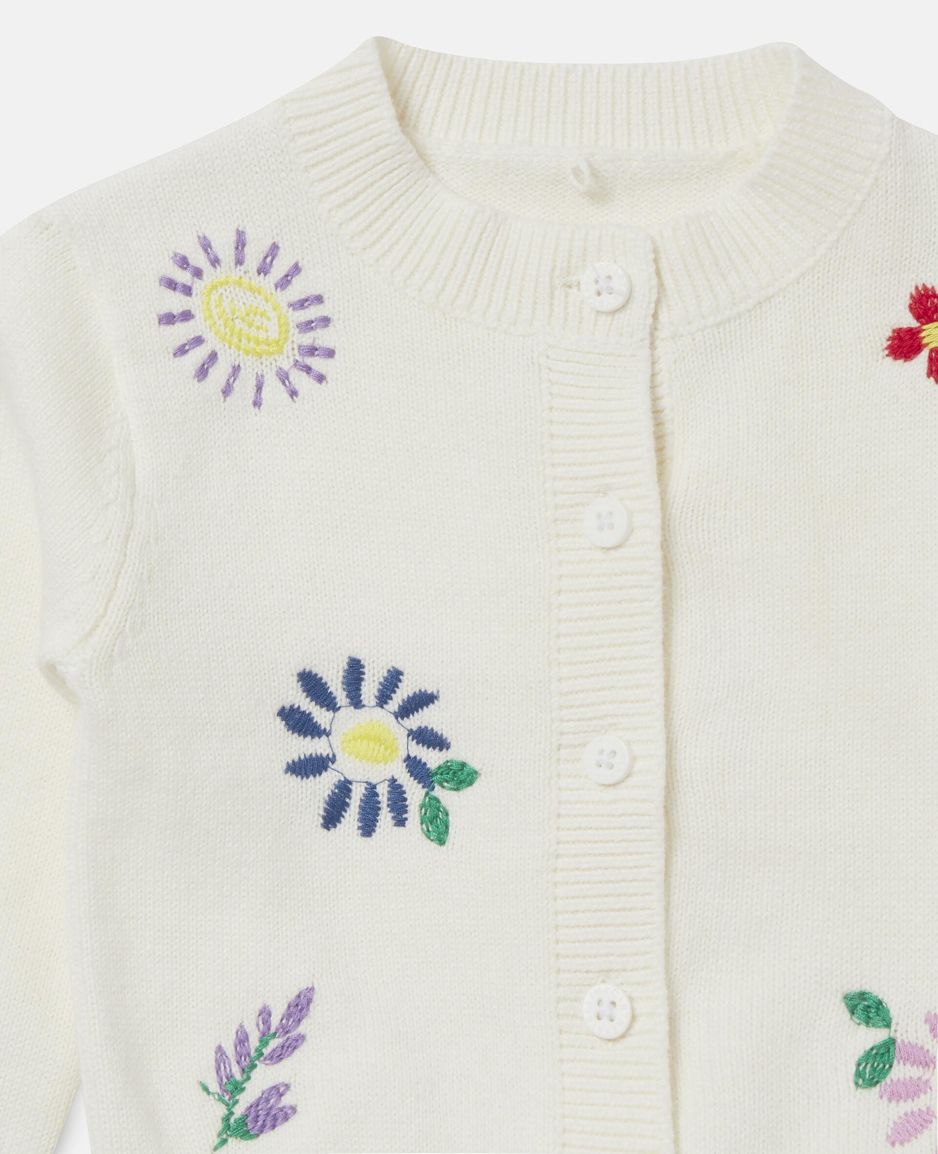 Cardigan à fleurs brodées-Blanc-large image number 1