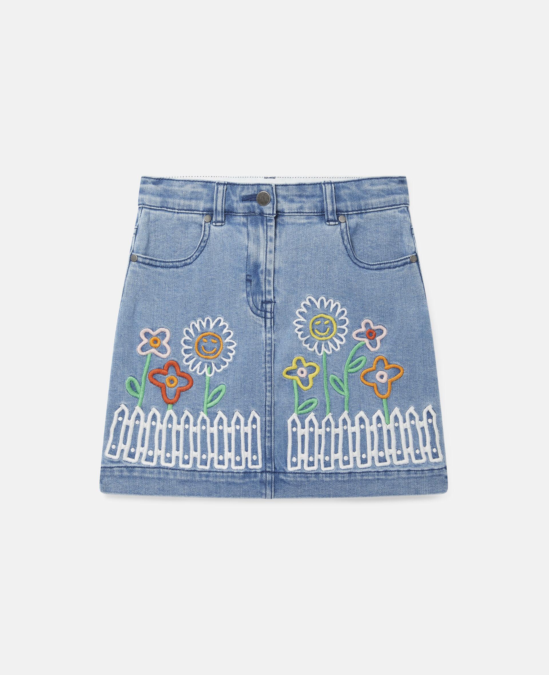 Embroidered Flowers Denim Skirt -Blue-large image number 0