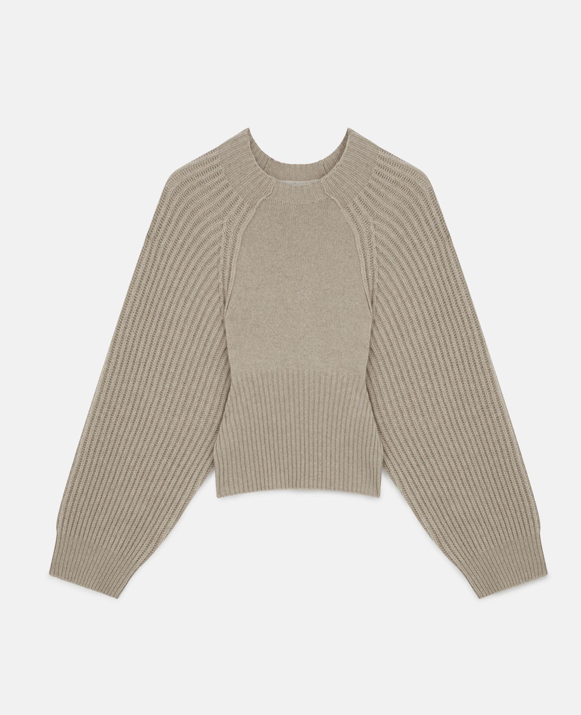 Cropped Knit Jumper -Beige-large image number 0