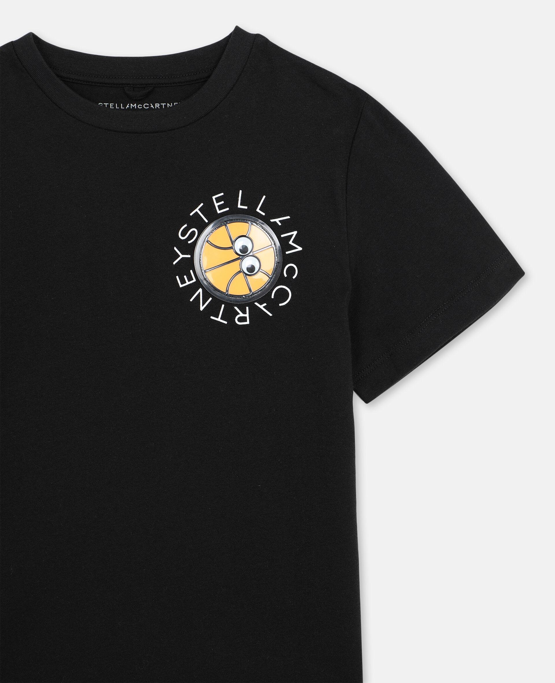 Baumwoll-T-Shirt mit 3D-Logo-Aufnäher-Schwarz-large image number 1
