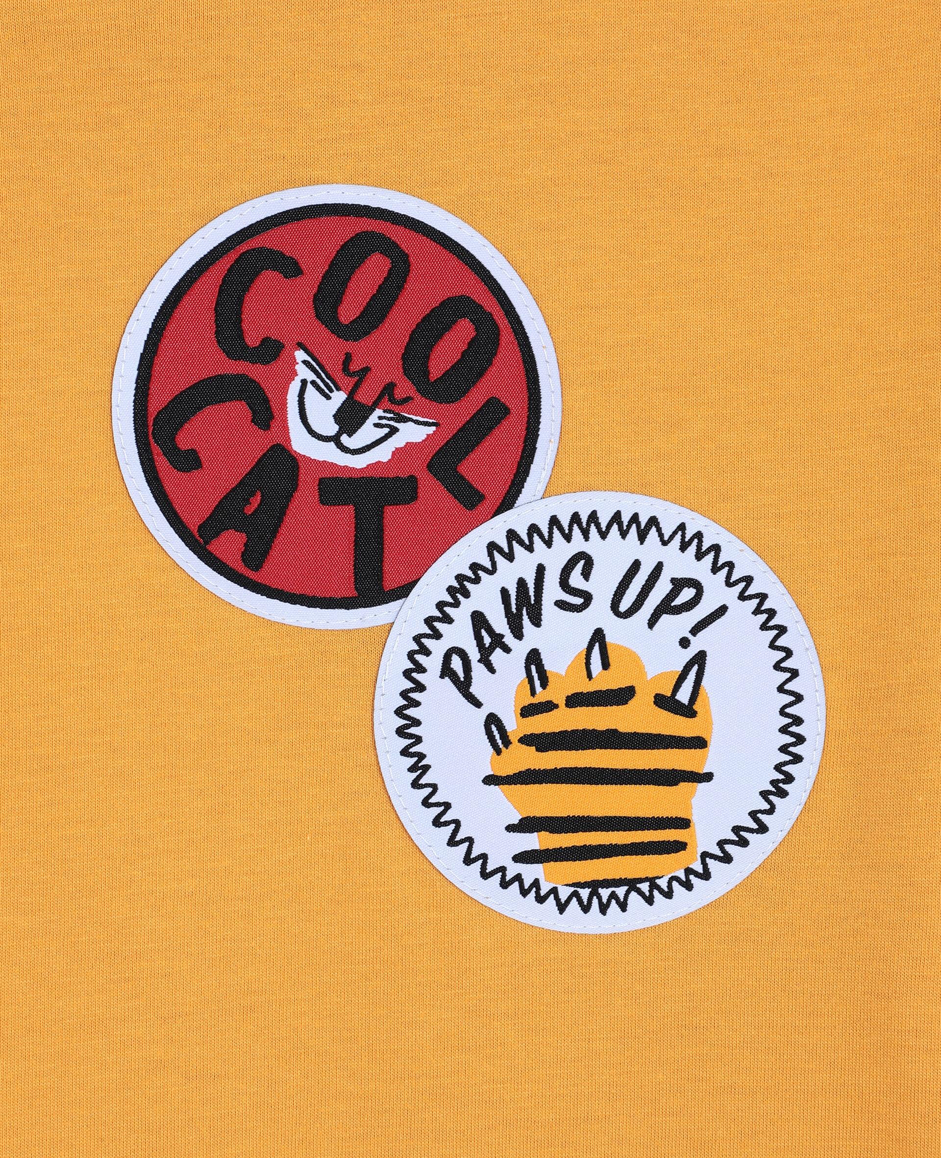 T-shirt oversize en coton avec écussons chat -Orange-large image number 1