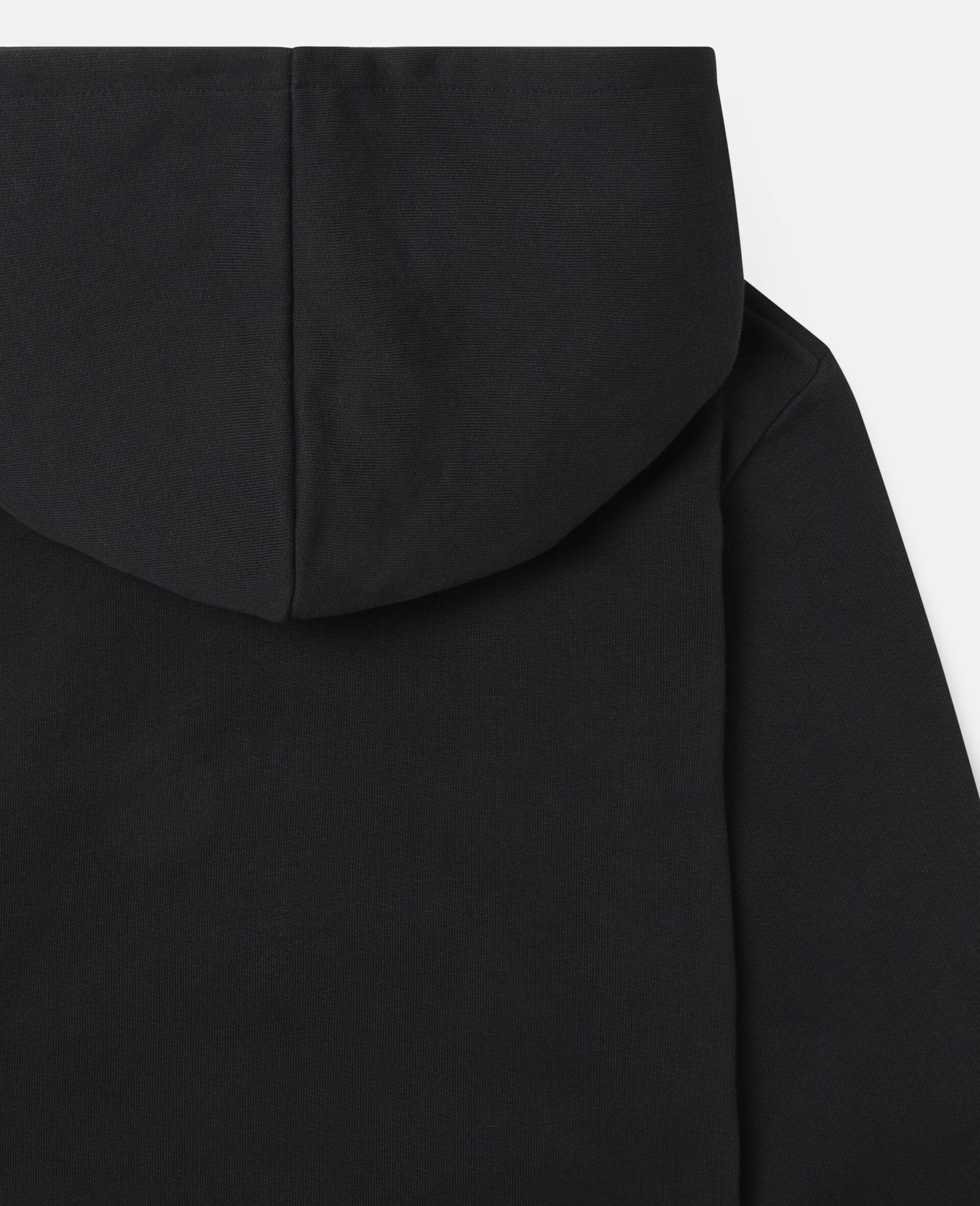 Oversized Graphic Mountain Fleece Hoodie-Black-large image number 2