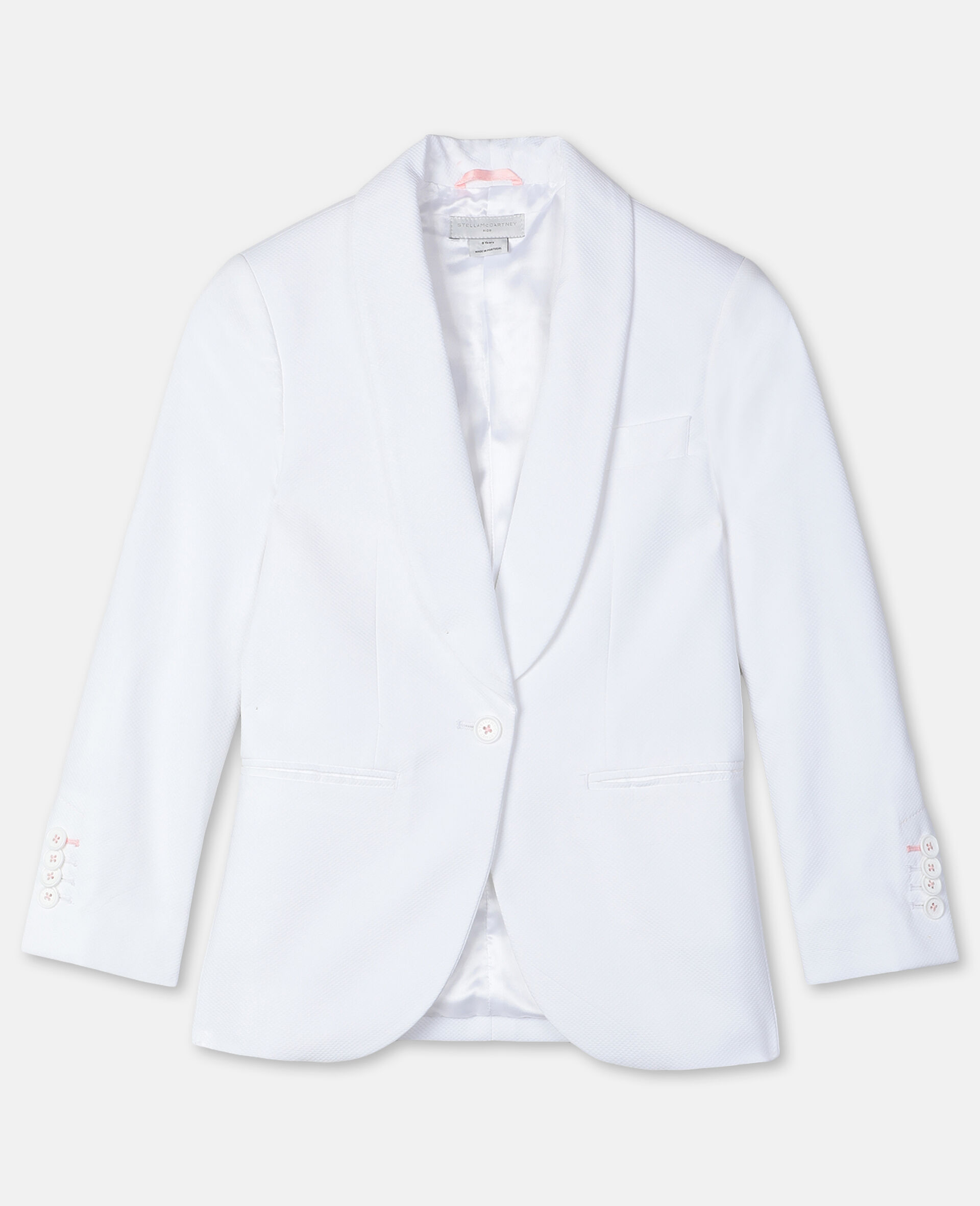 Cotton-Piqué Suit Jacket -White-large image number 0
