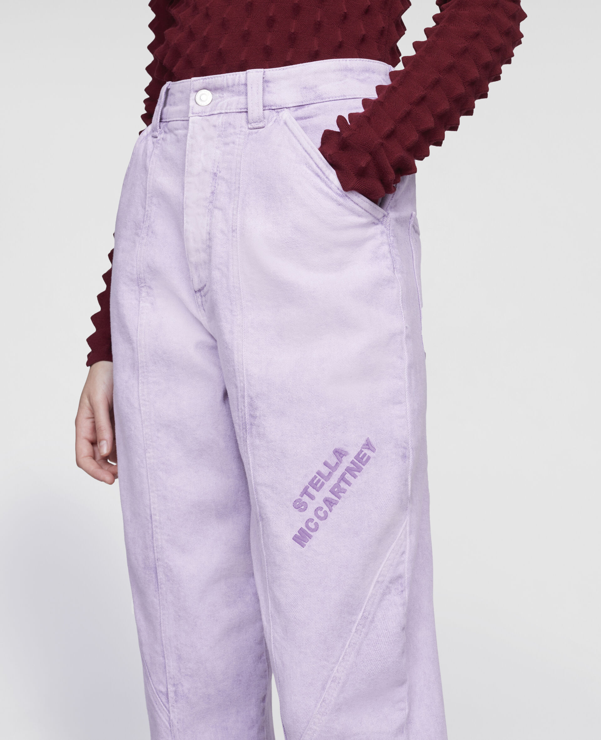 Cropped Denim Trousers-Purple-large image number 3