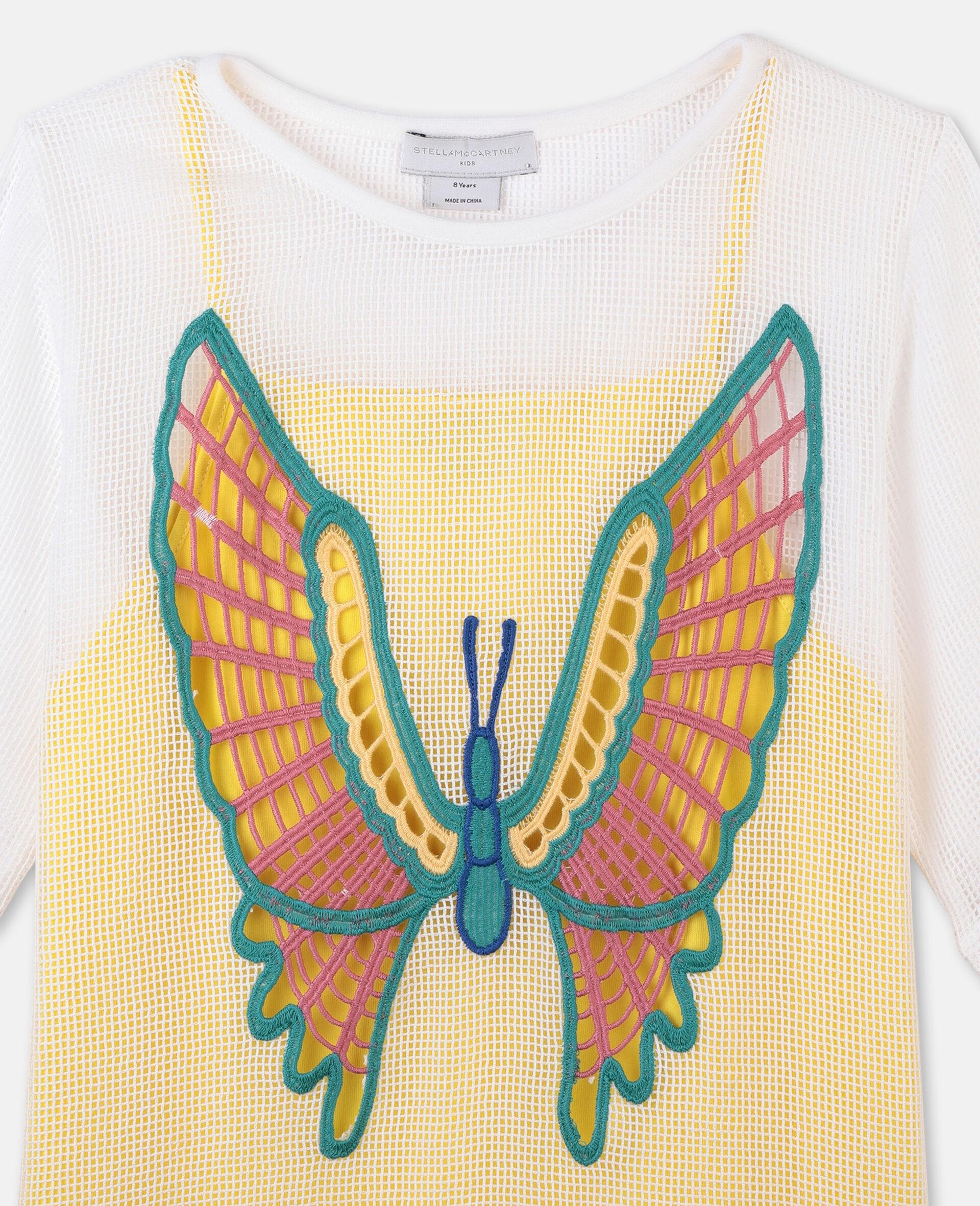 Kleid aus Baumwollmesh mit Schmetterlingen-Weiß-large image number 1