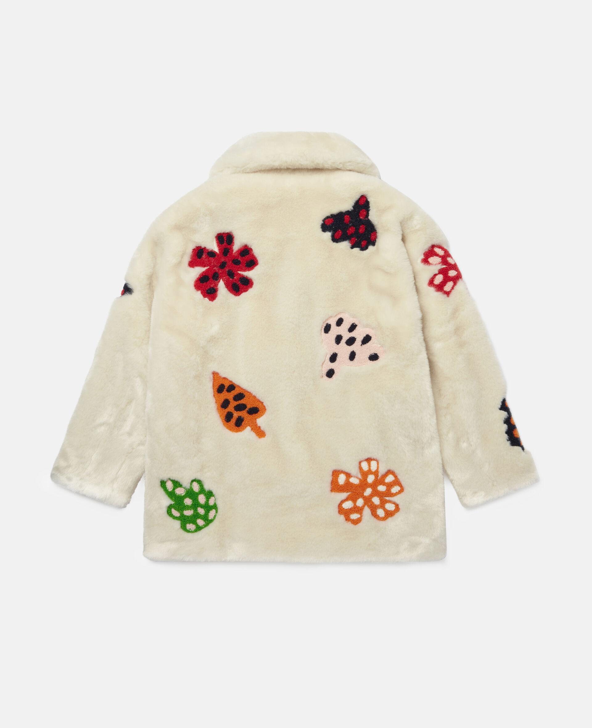Jacke aus FFF mit gepunkteter Blumen-Stickerei -Weiß-large image number 3