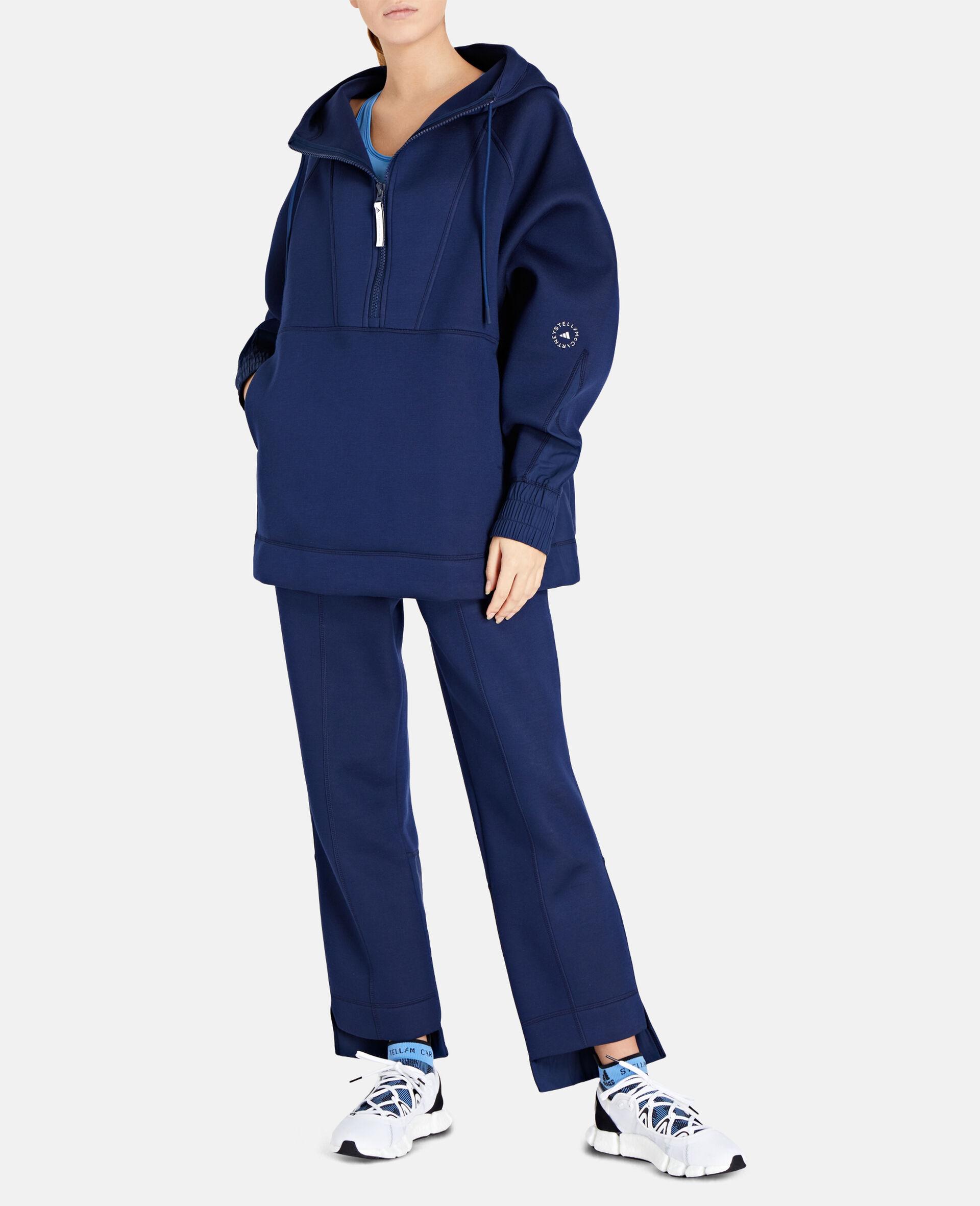 Blauer Kapuzenpullover mit halbem Reißverschluss-Blau-large image number 1