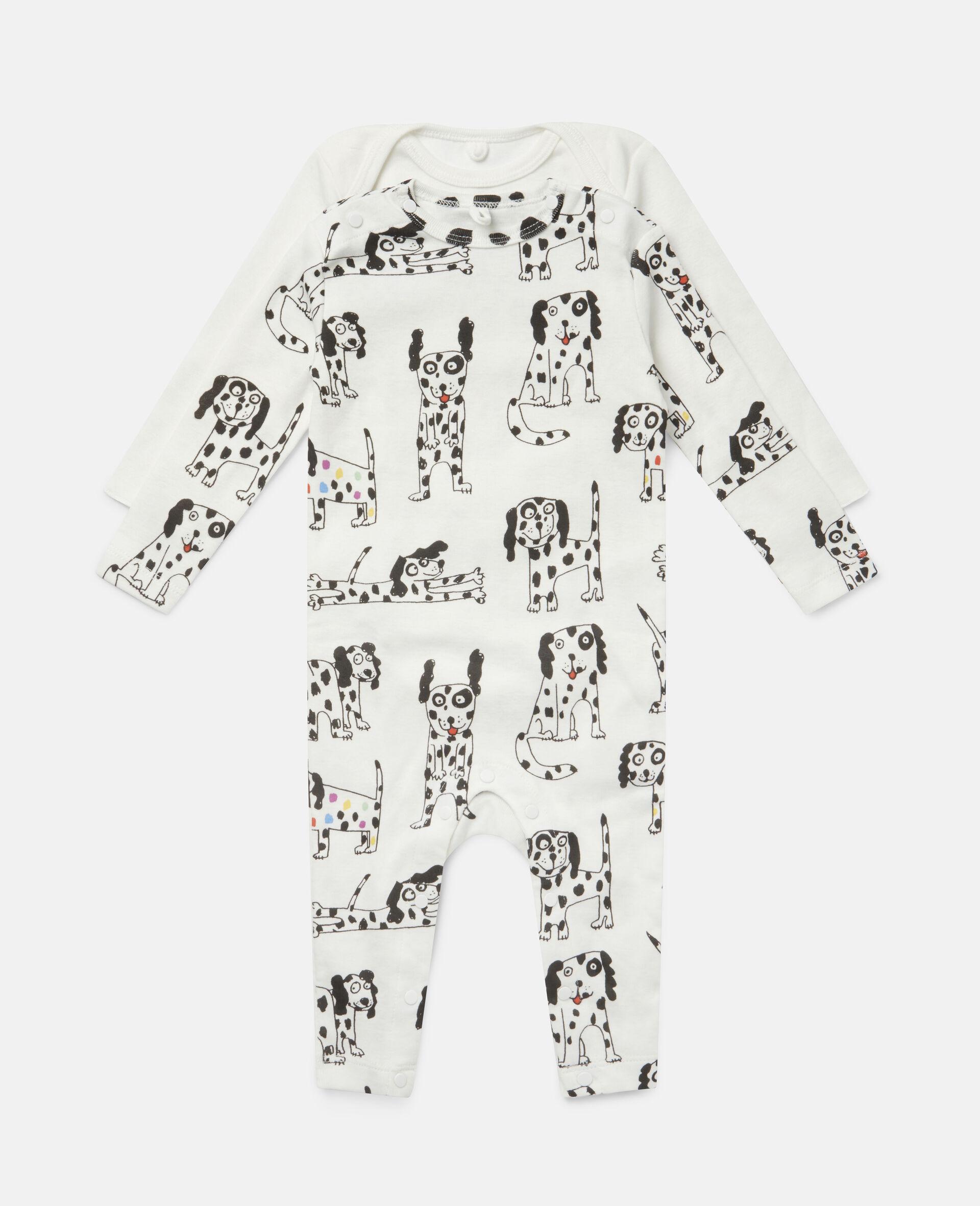 """""""Doodle Dalmatians"""" Body und Jumpsuit aus geripptem Jersey-Weiß-large image number 0"""