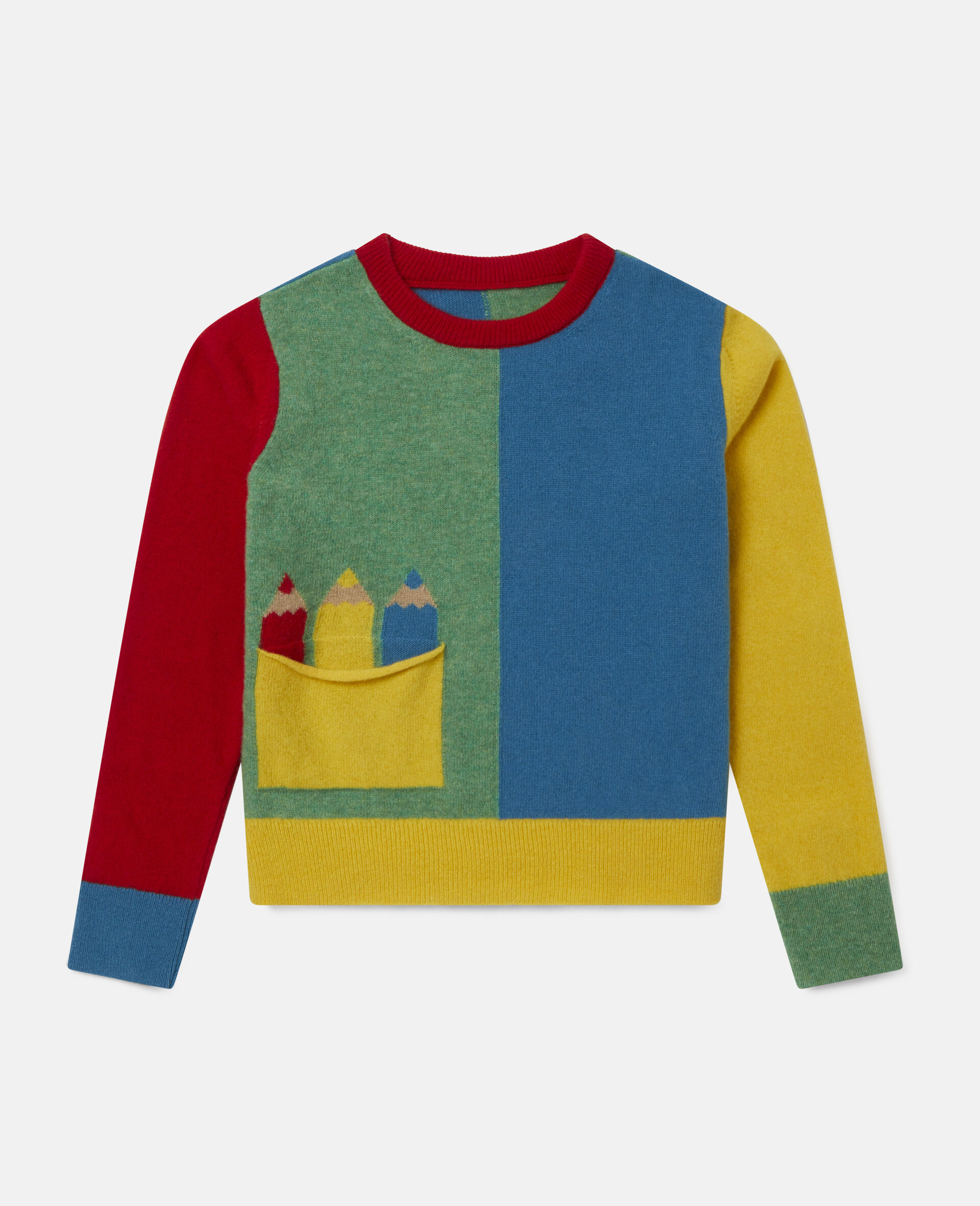 Colorblock Knit Intarsia Sweater -Multicolour-large image number 0