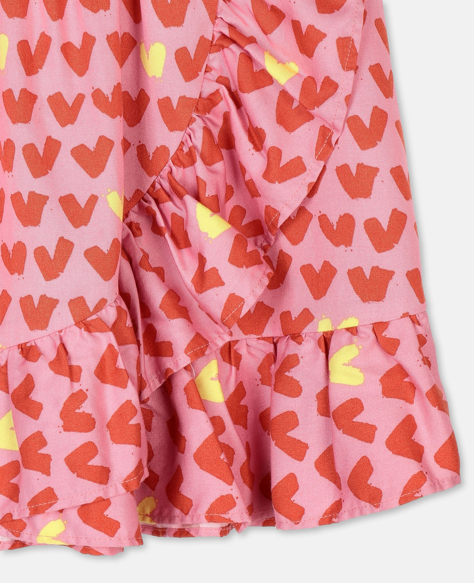 Hearts Viscose Twill Skirt -Pink-large image number 1
