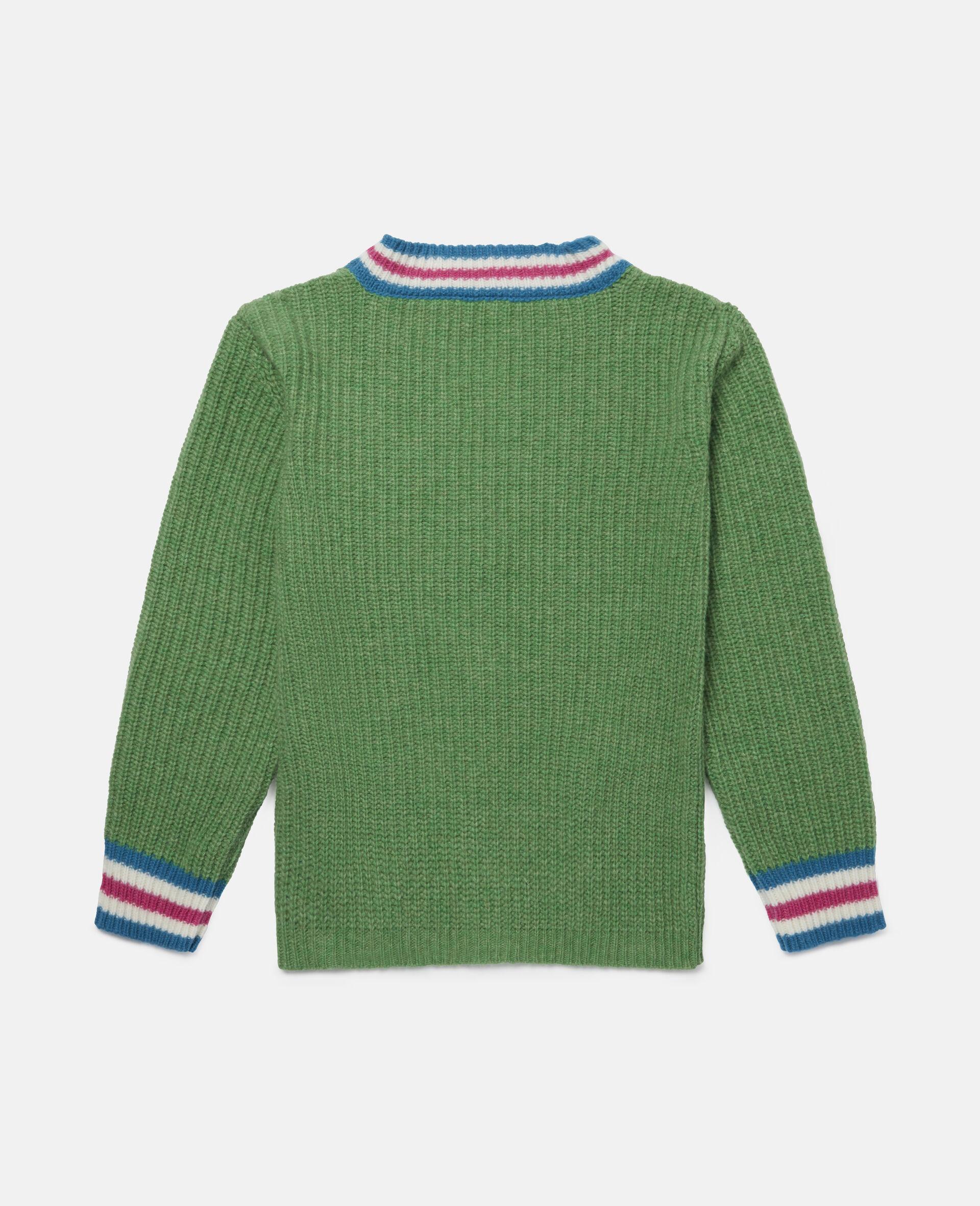 Cardigan en maille motif intarsia crayons -Vert-large image number 3