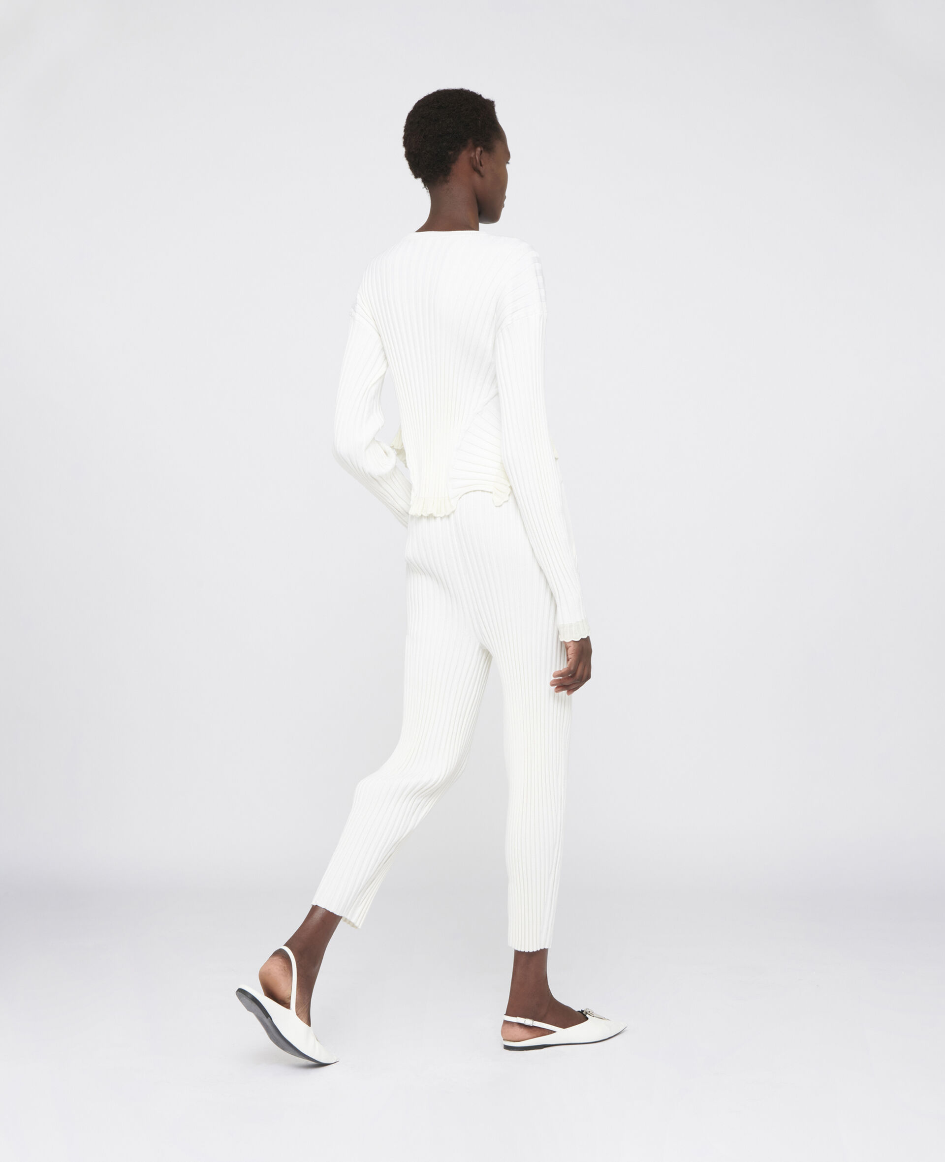 Rib-Knit Pants-White-large image number 2