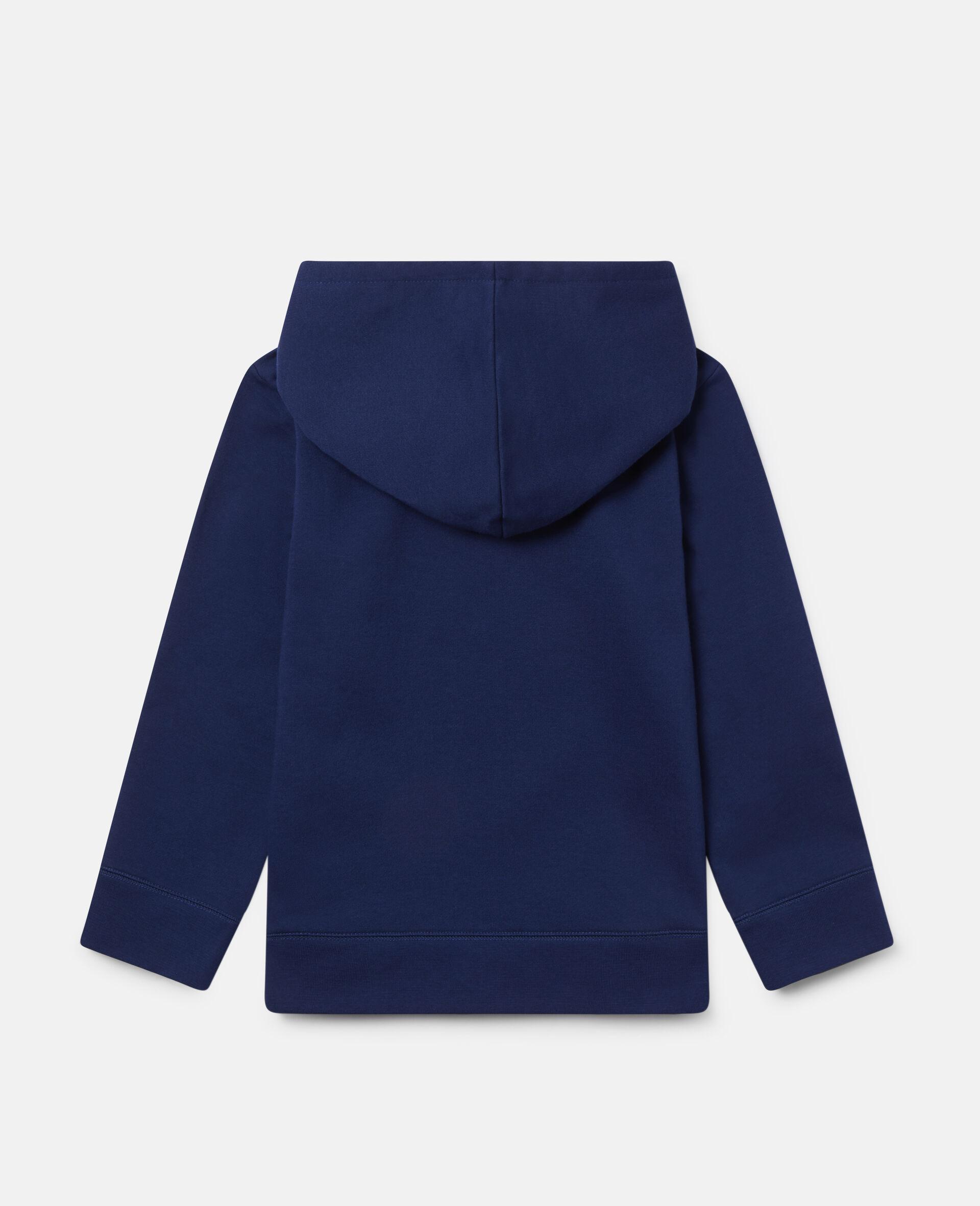 Sweat-shirt à capuche oversize en polaire «Eat My Dust»-Bleu-large image number 3