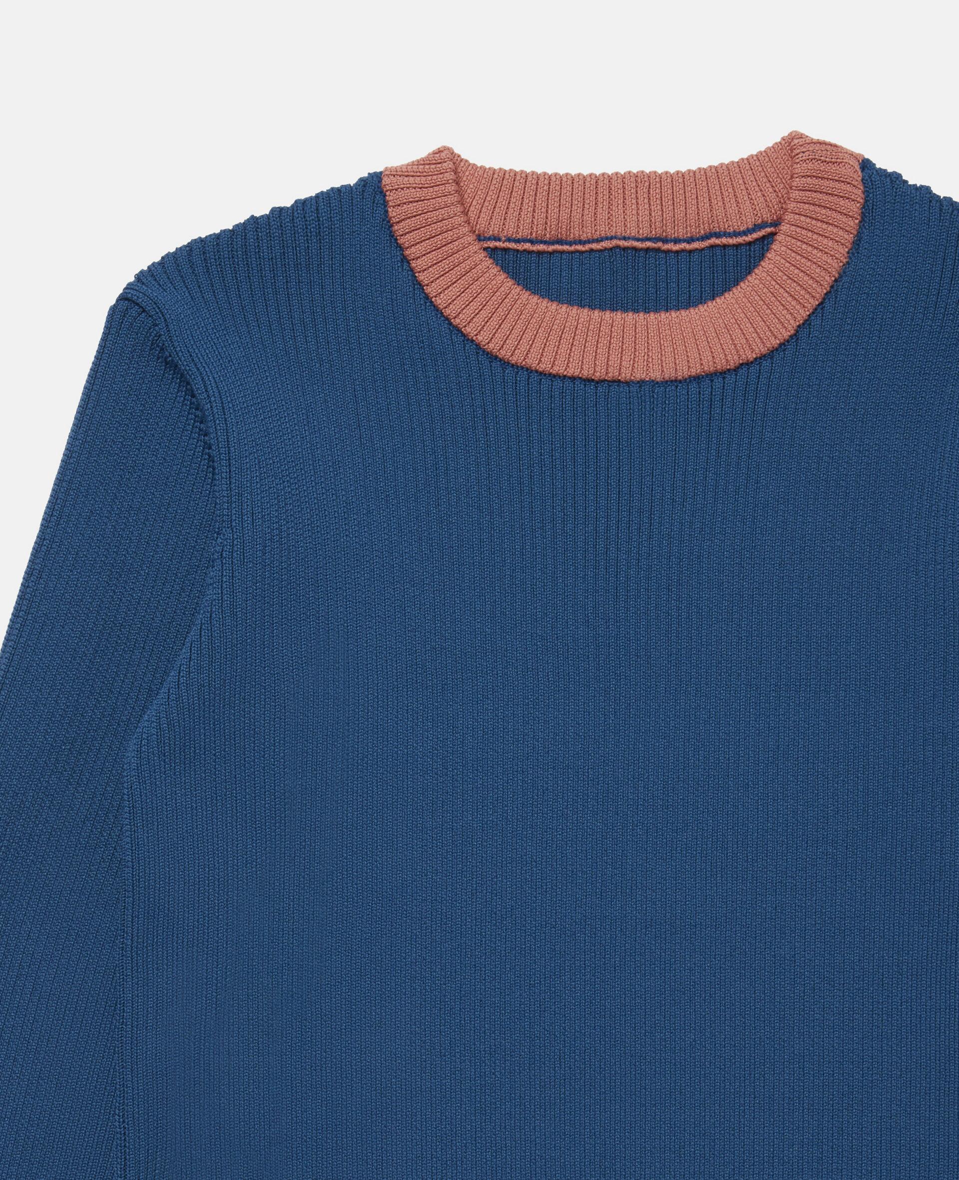 Colourblock Knit Rib Jumper -Blue-large image number 2