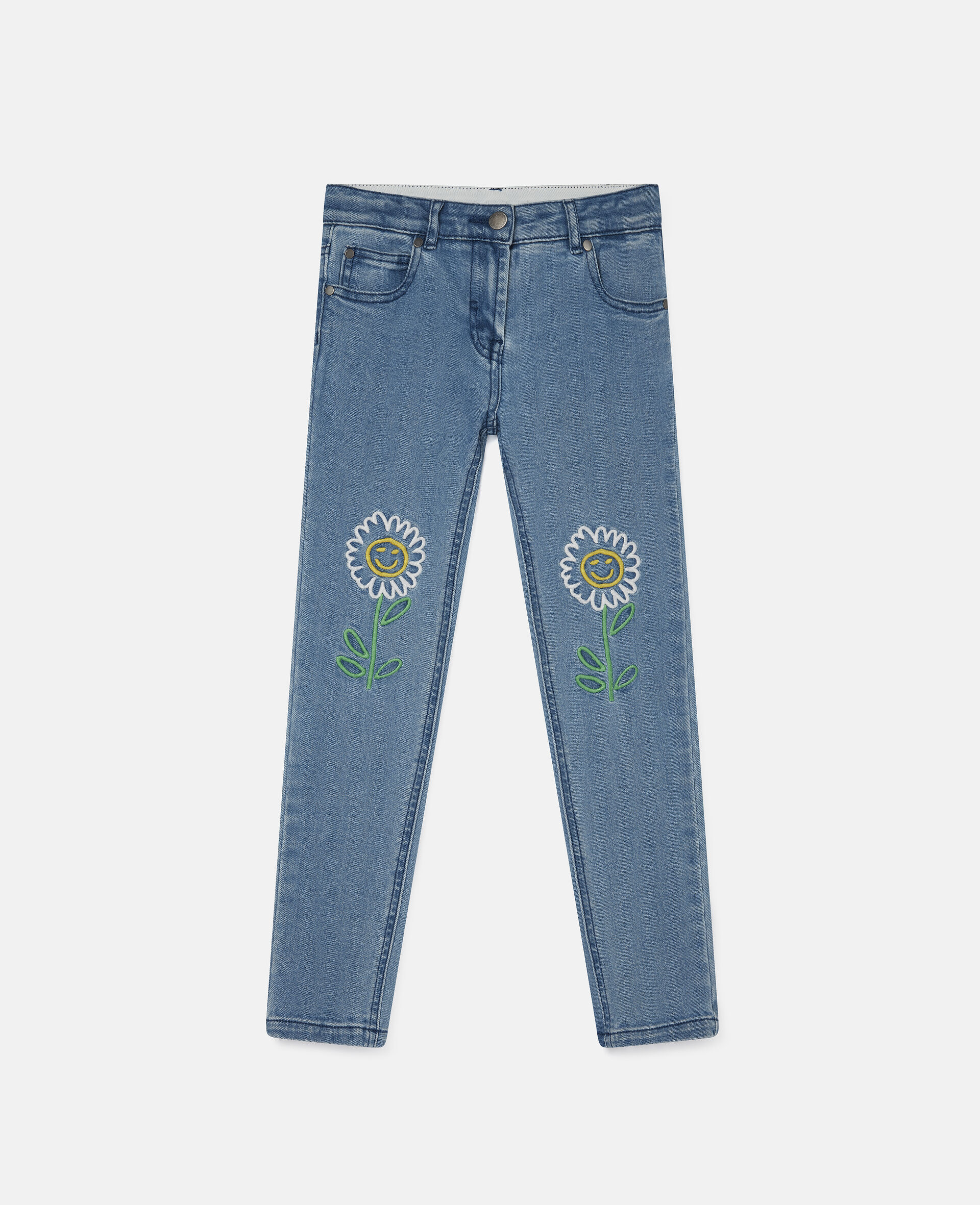 Embroidered Flowers Denim Pants-Blue-large image number 0