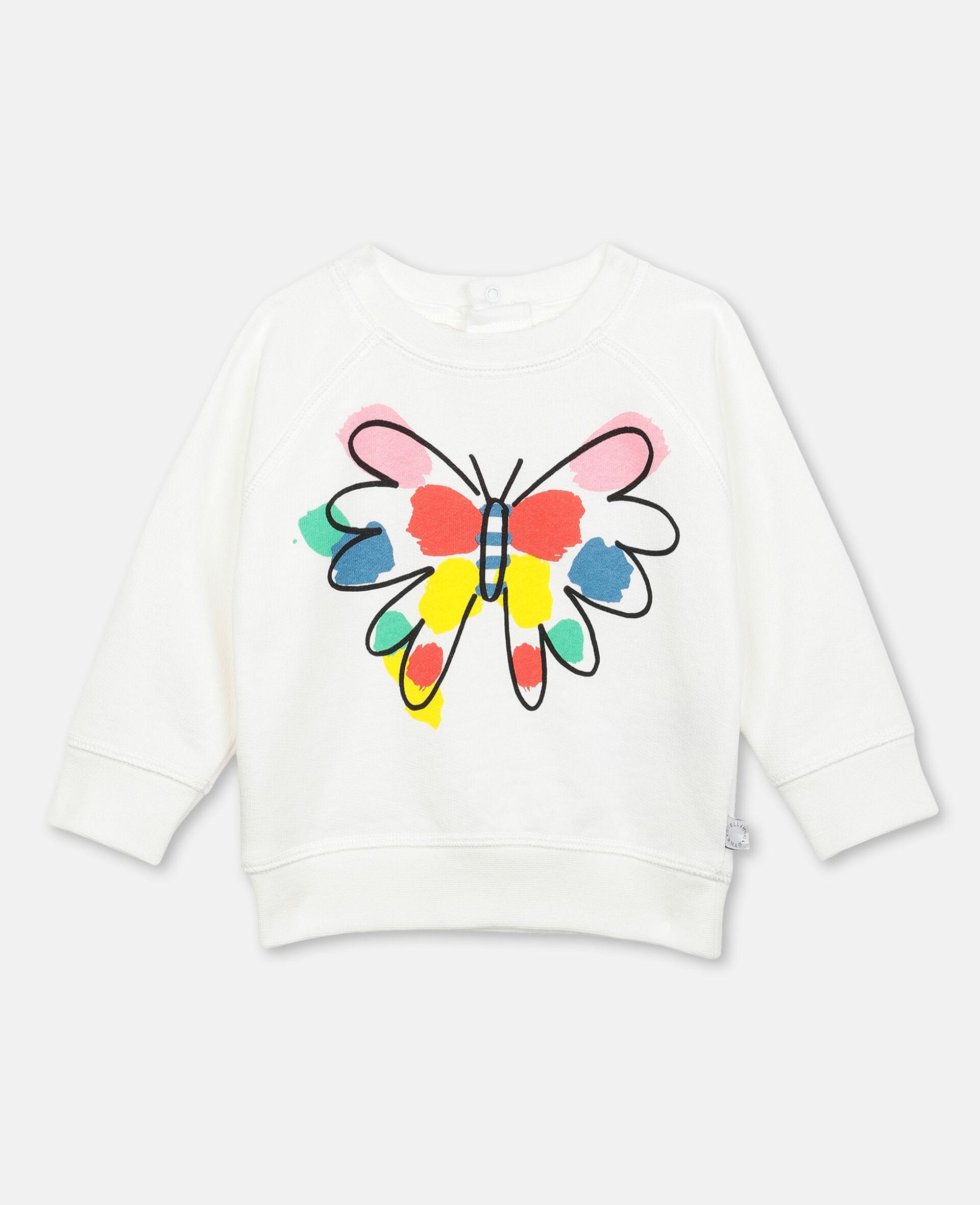 Sweatshirt aus Fleece mit Schmetterling-Print-Weiß-large image number 0
