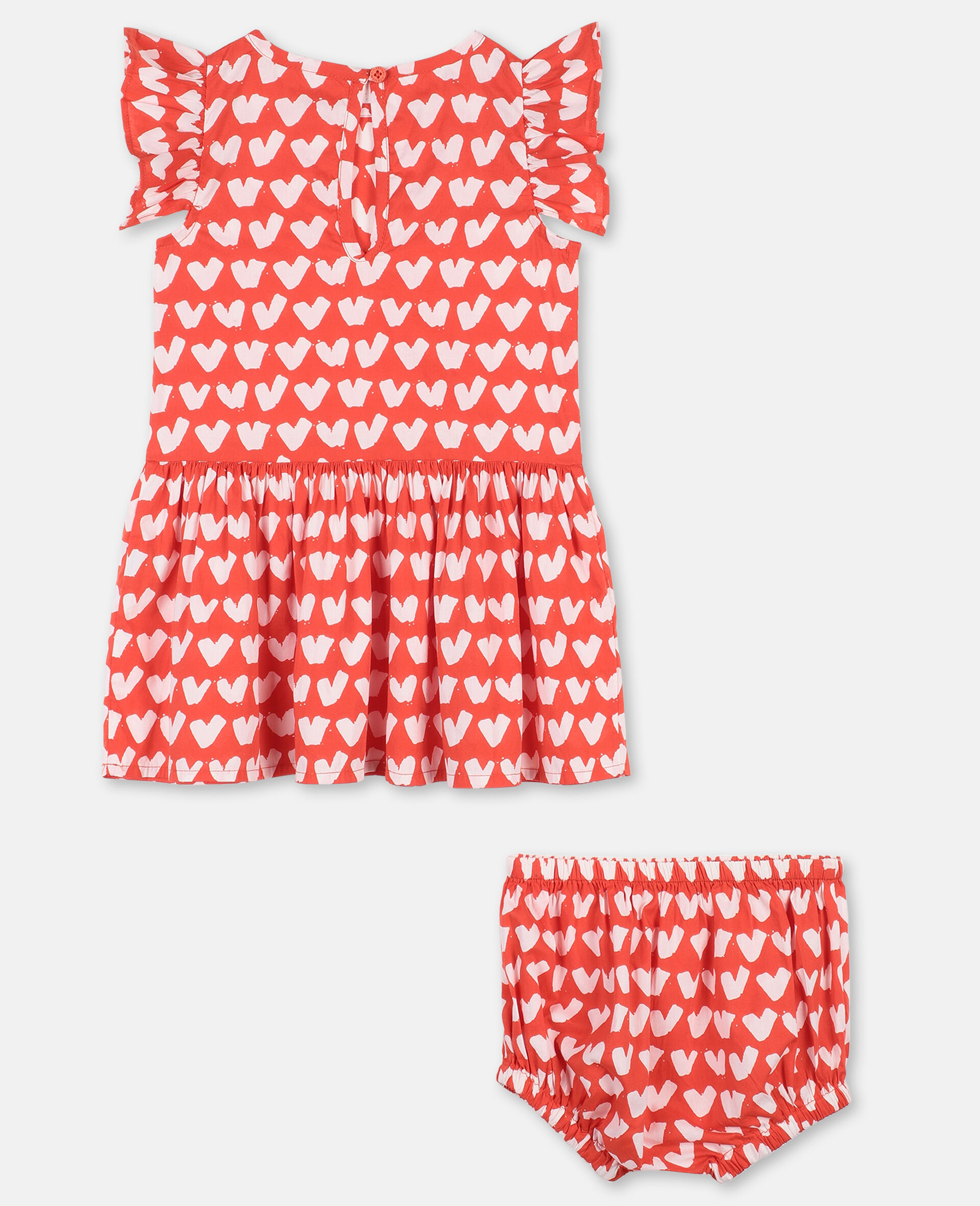 Hearts Cotton Dress -Red-large image number 3