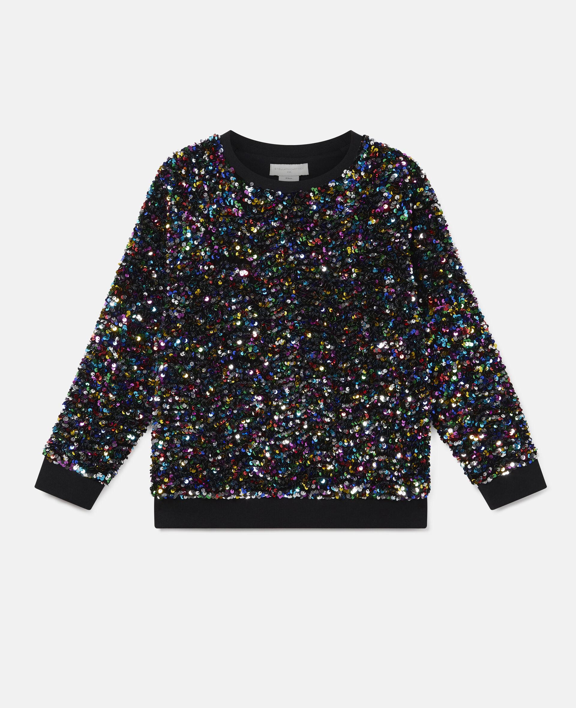 Sequined Fleece Sweatshirt -Multicolour-large image number 0