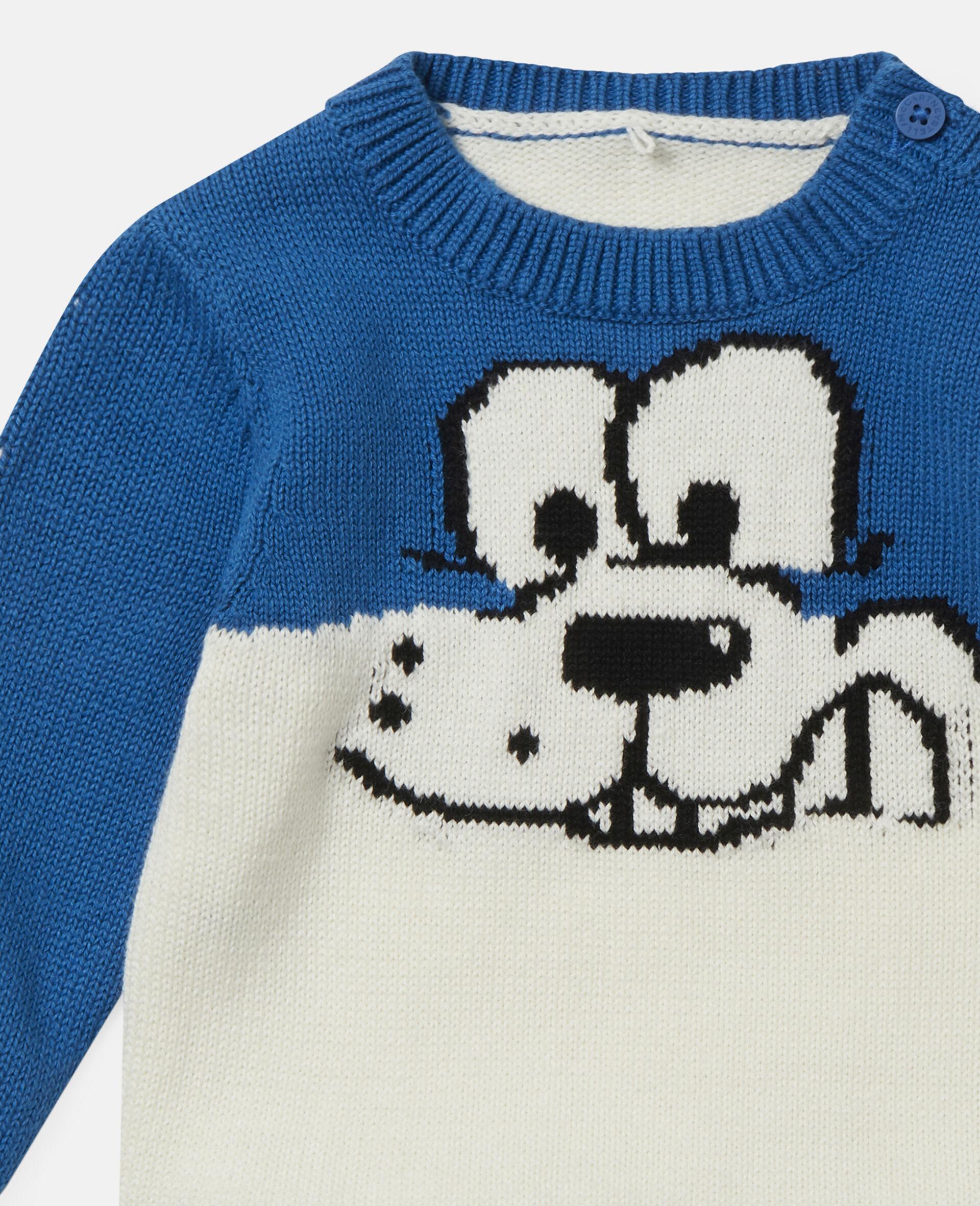 Doodle Dog Knit Intarsia Sweater-White-large image number 1