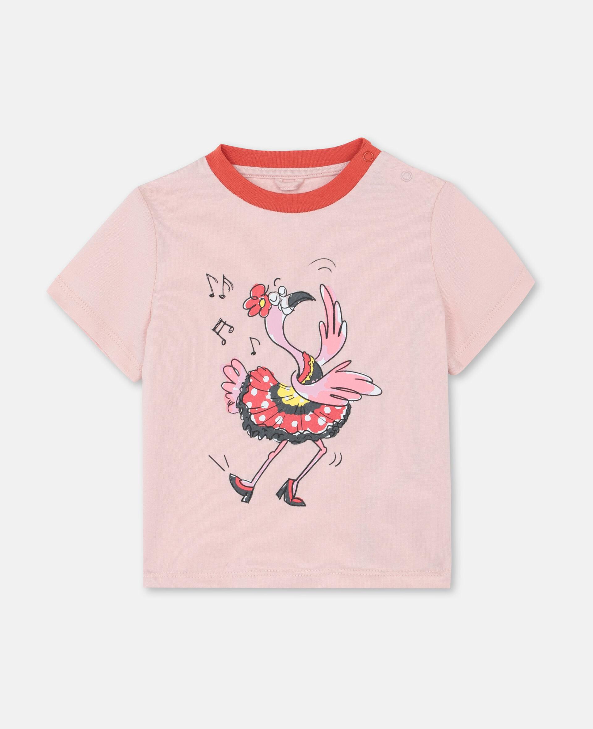 ダンシング フラミンゴ コットン Tシャツ-ピンク-large image number 0