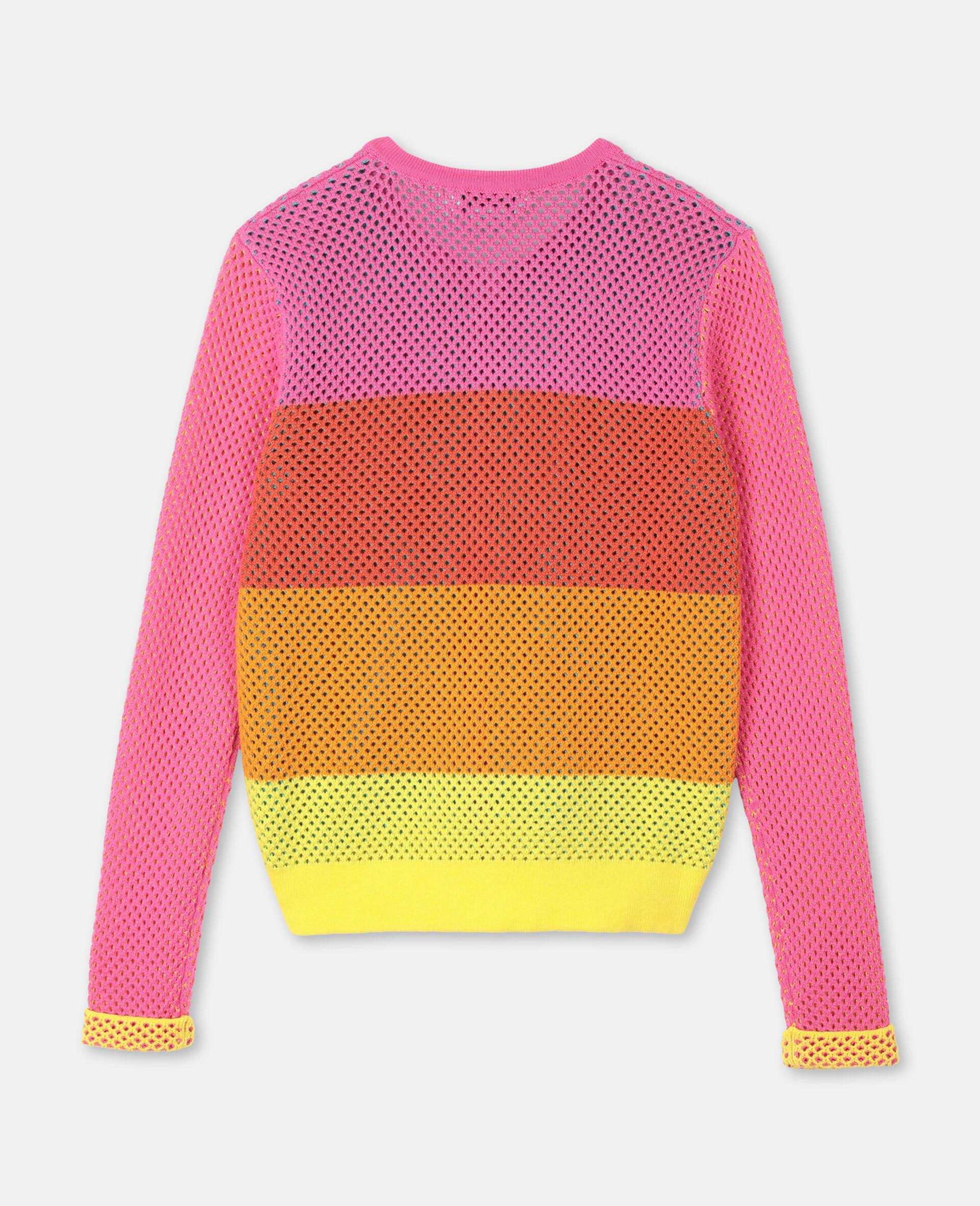 Intarsia Mesh Knit Cotton Cardigan-Multicolour-large image number 3