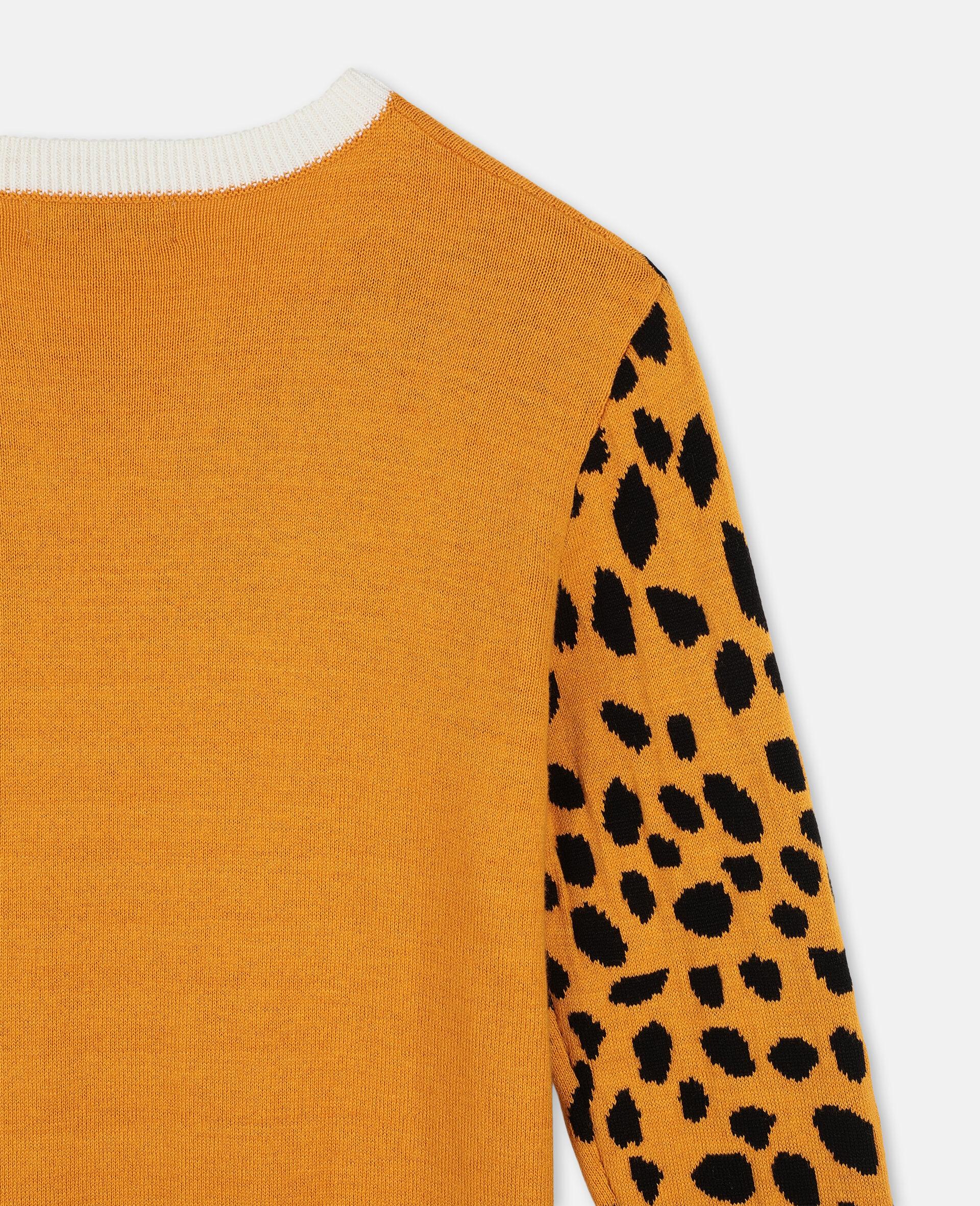 Cheetah Intarsia Knit Dress-Orange-large image number 2