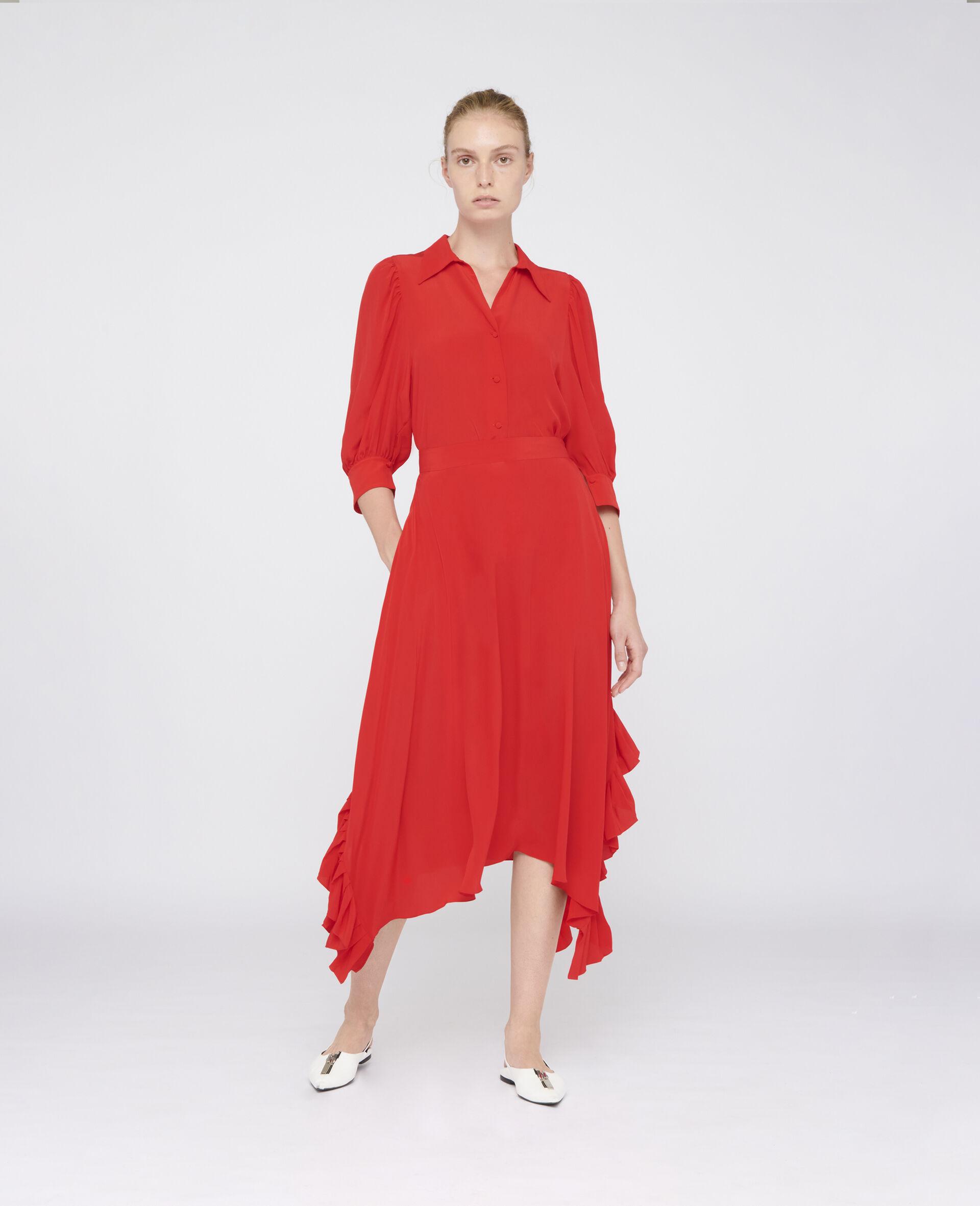 Ashlyn Silk Skirt-Red-large image number 1
