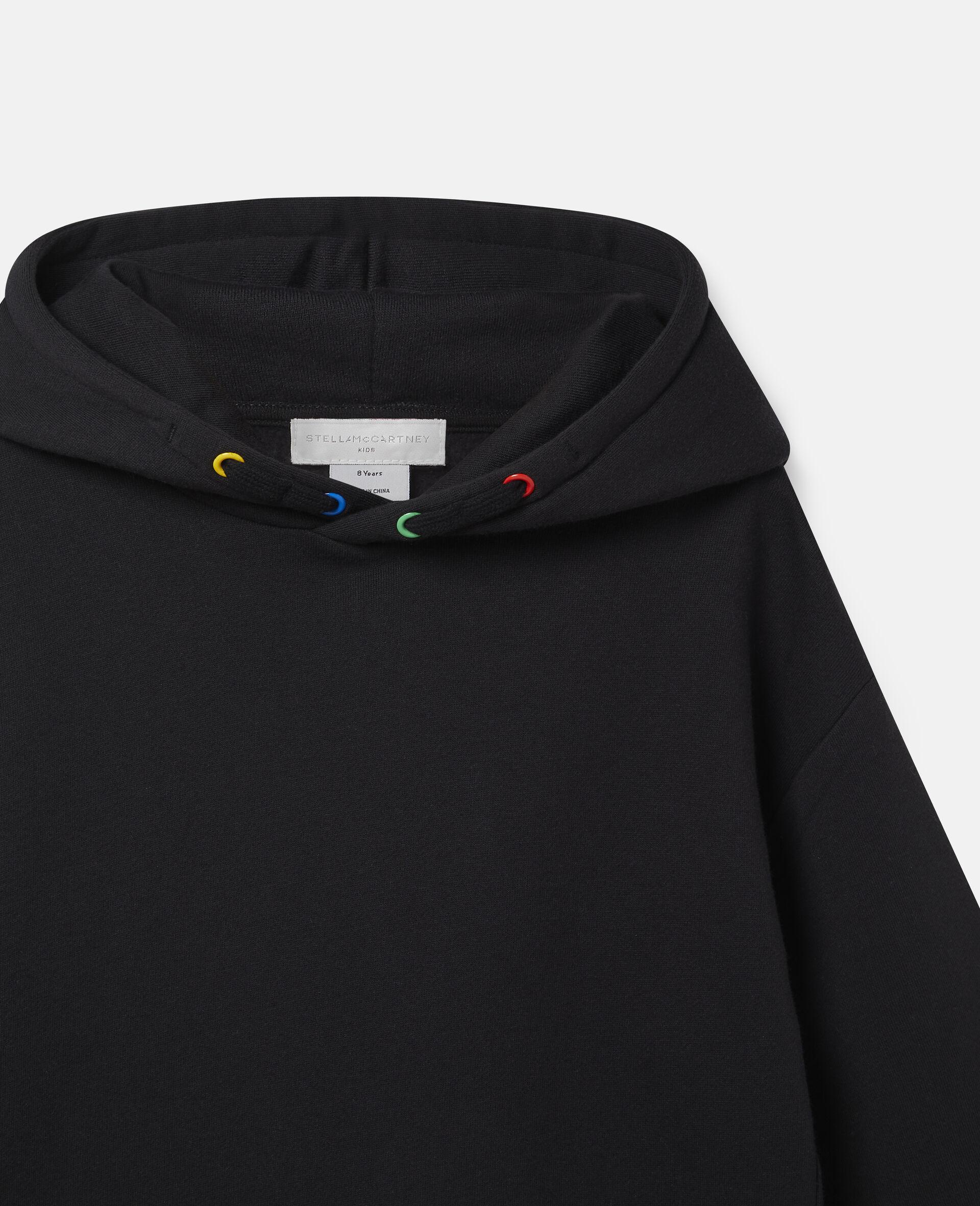 Robe à capuche oversize en polaire-Noir-large image number 2