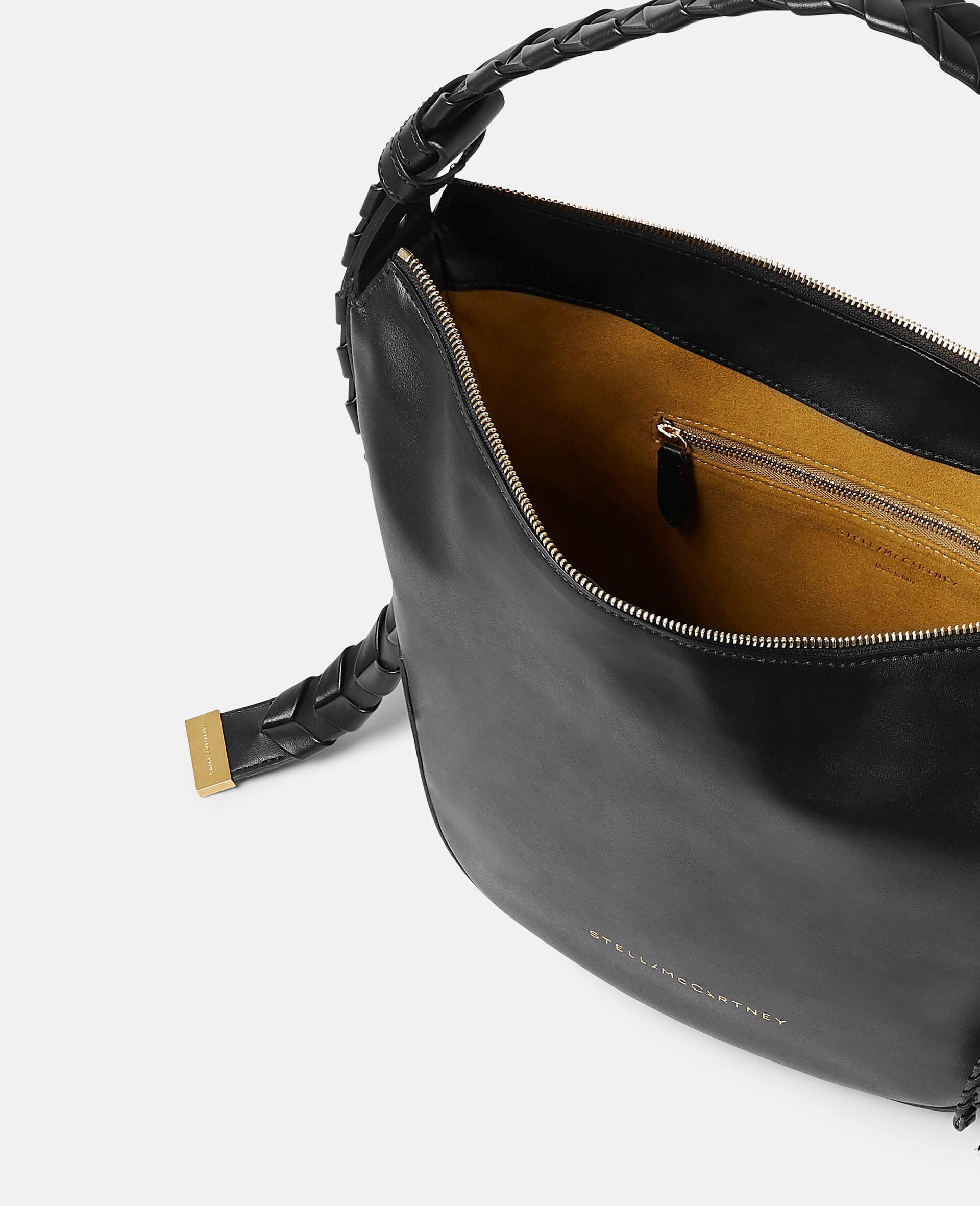 Medium Zip Hobo Shoulder Bag-Black-large image number 3