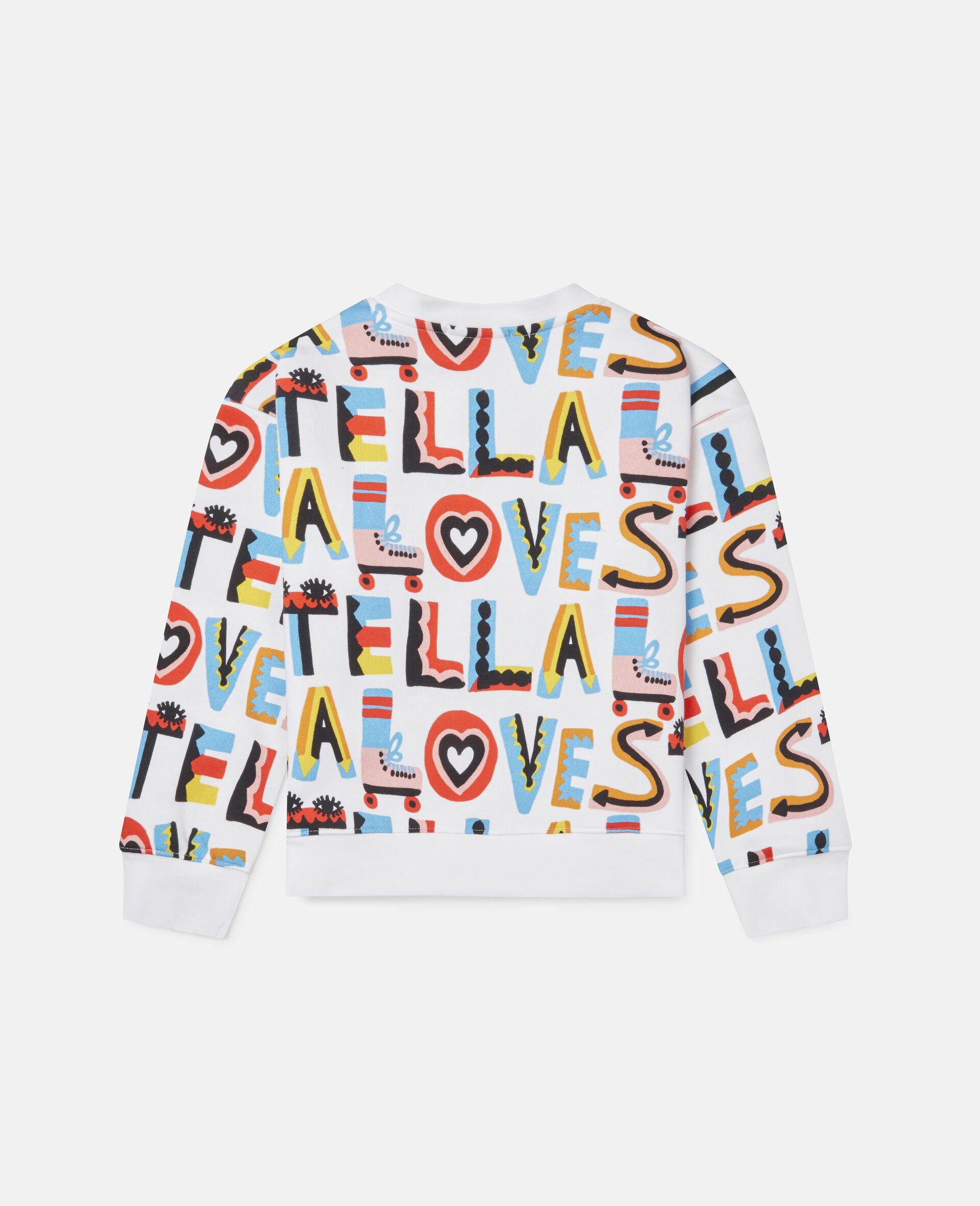 Übergroßes Sweatshirt aus Fleece mit Stella Loves-Print-Weiß-large image number 3