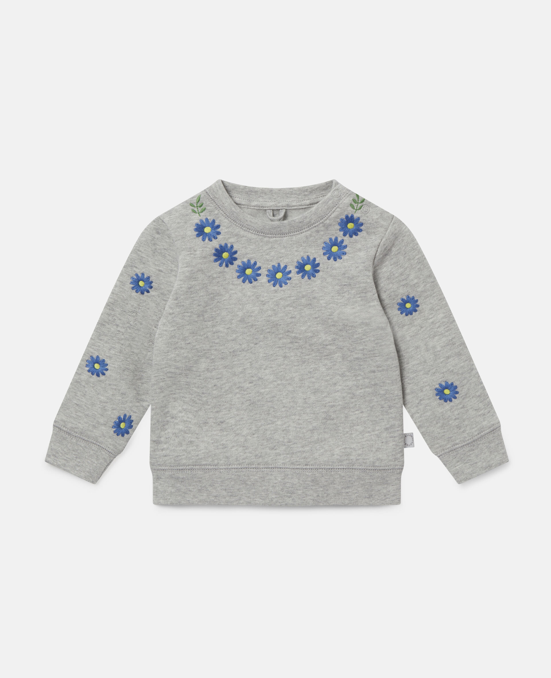 Embroidered Daisies Fleece Sweatshirt -Grey-large image number 0