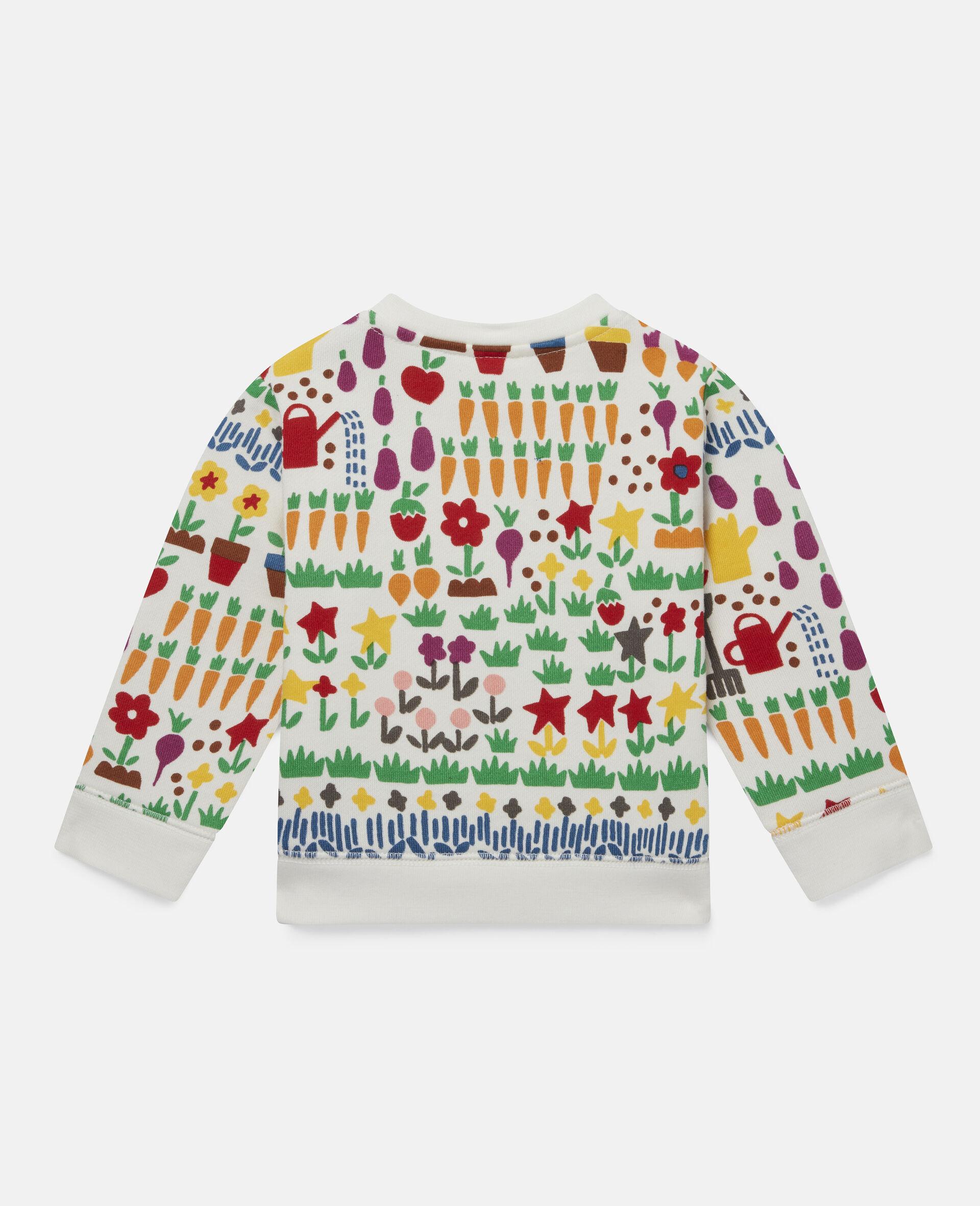 Sweatshirt aus Fleece mit Garten-Print-Weiß-large image number 3