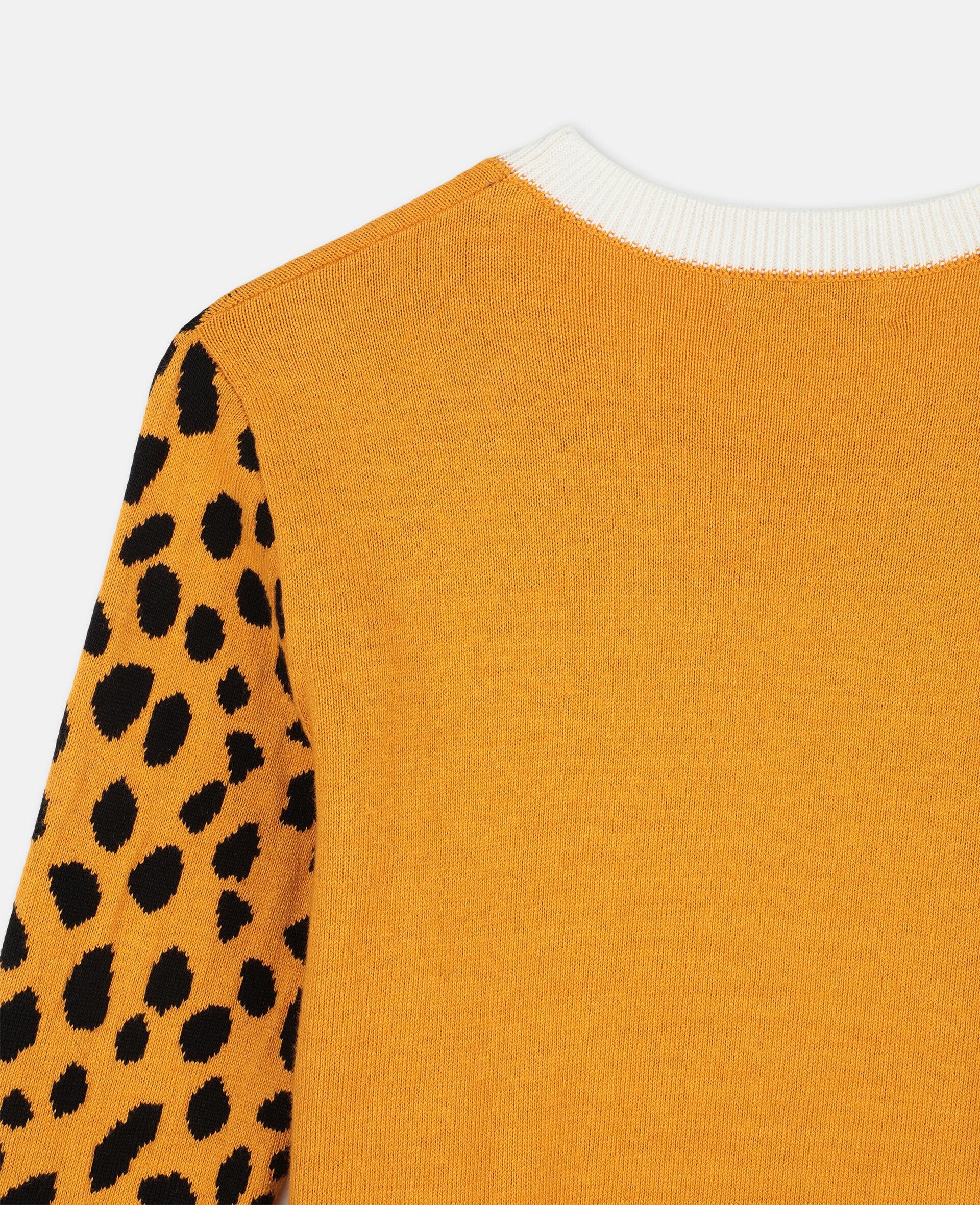 Pullover con Ghepardi a Intarsio -Arancione-large image number 2
