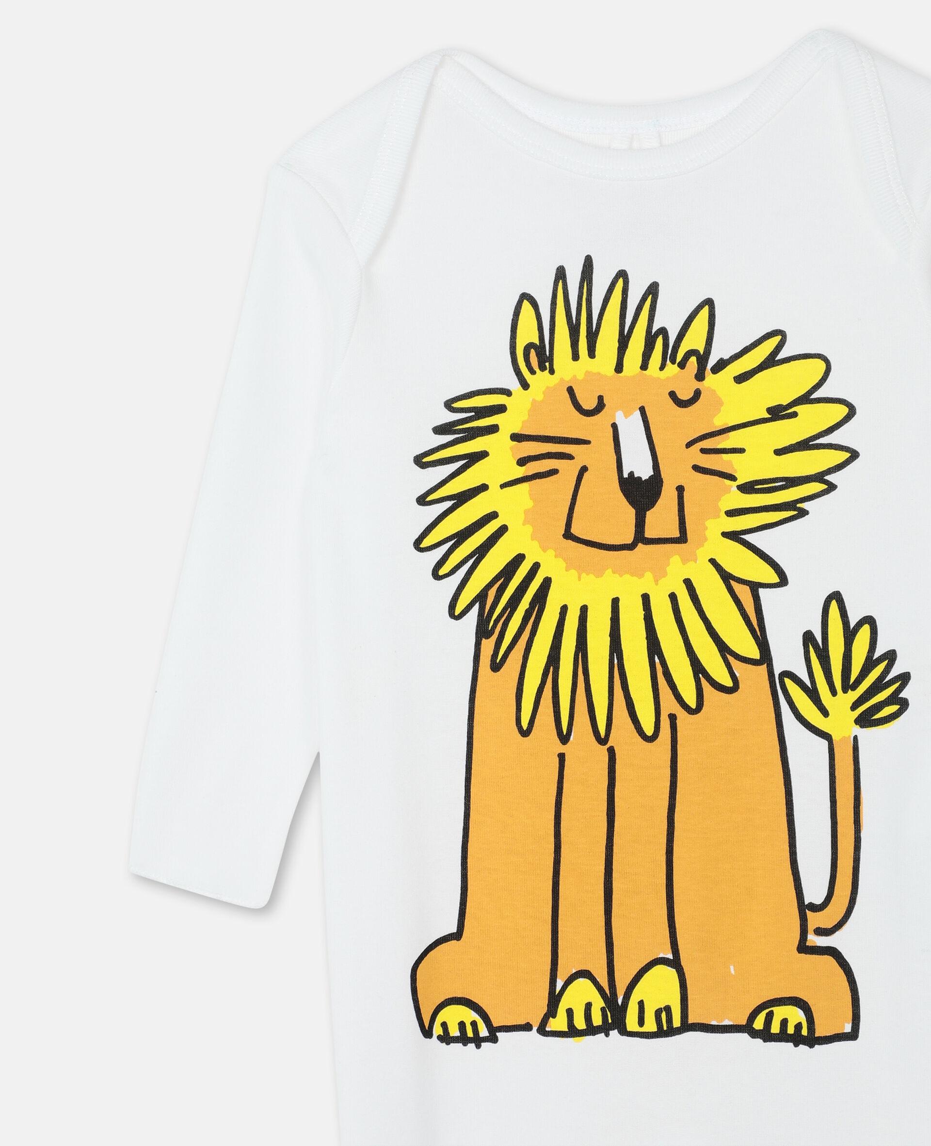 Lion 棉质婴儿连体服与围兜套装-白色-large image number 1