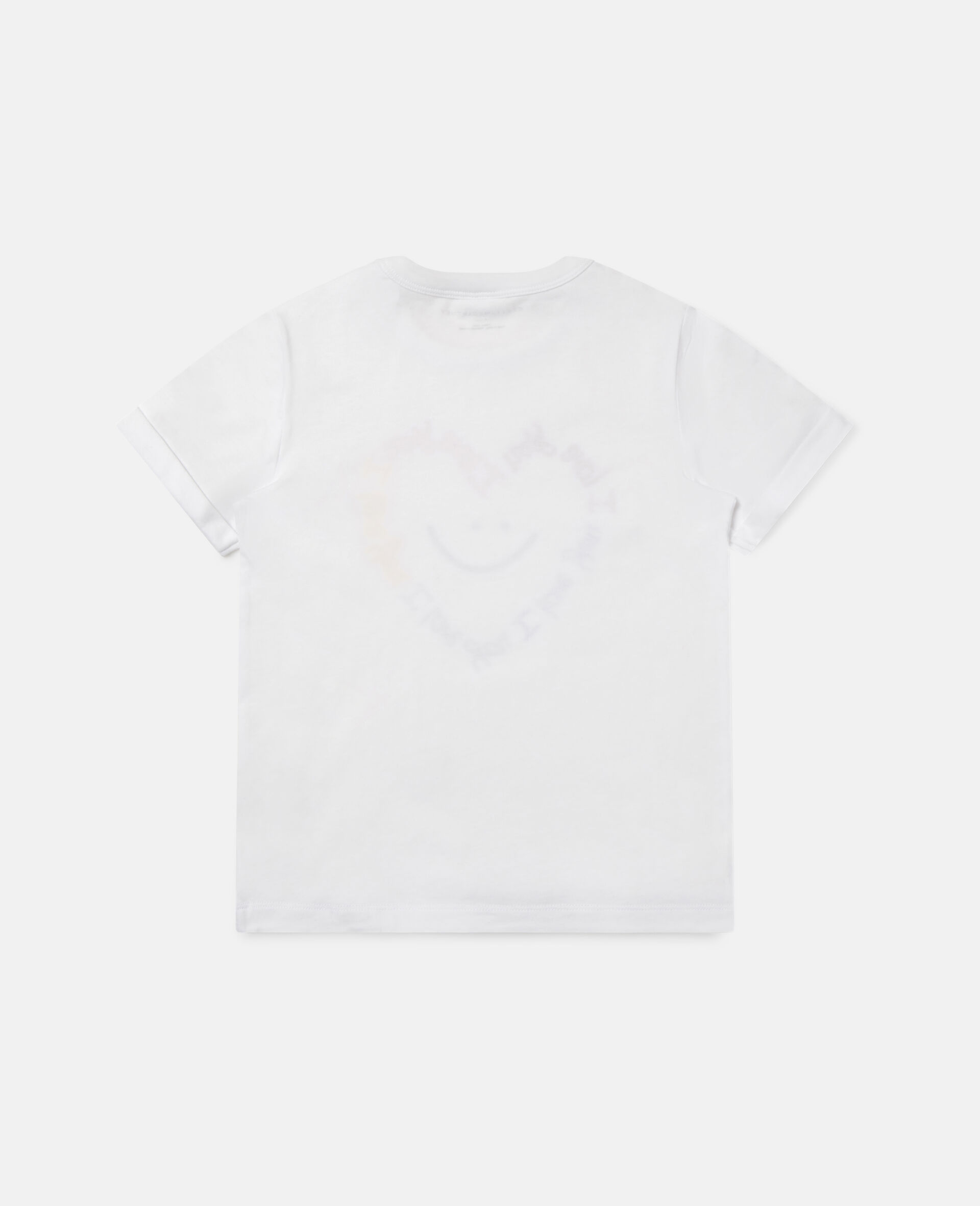 Smile Heart Cotton T-shirt -White-large image number 3